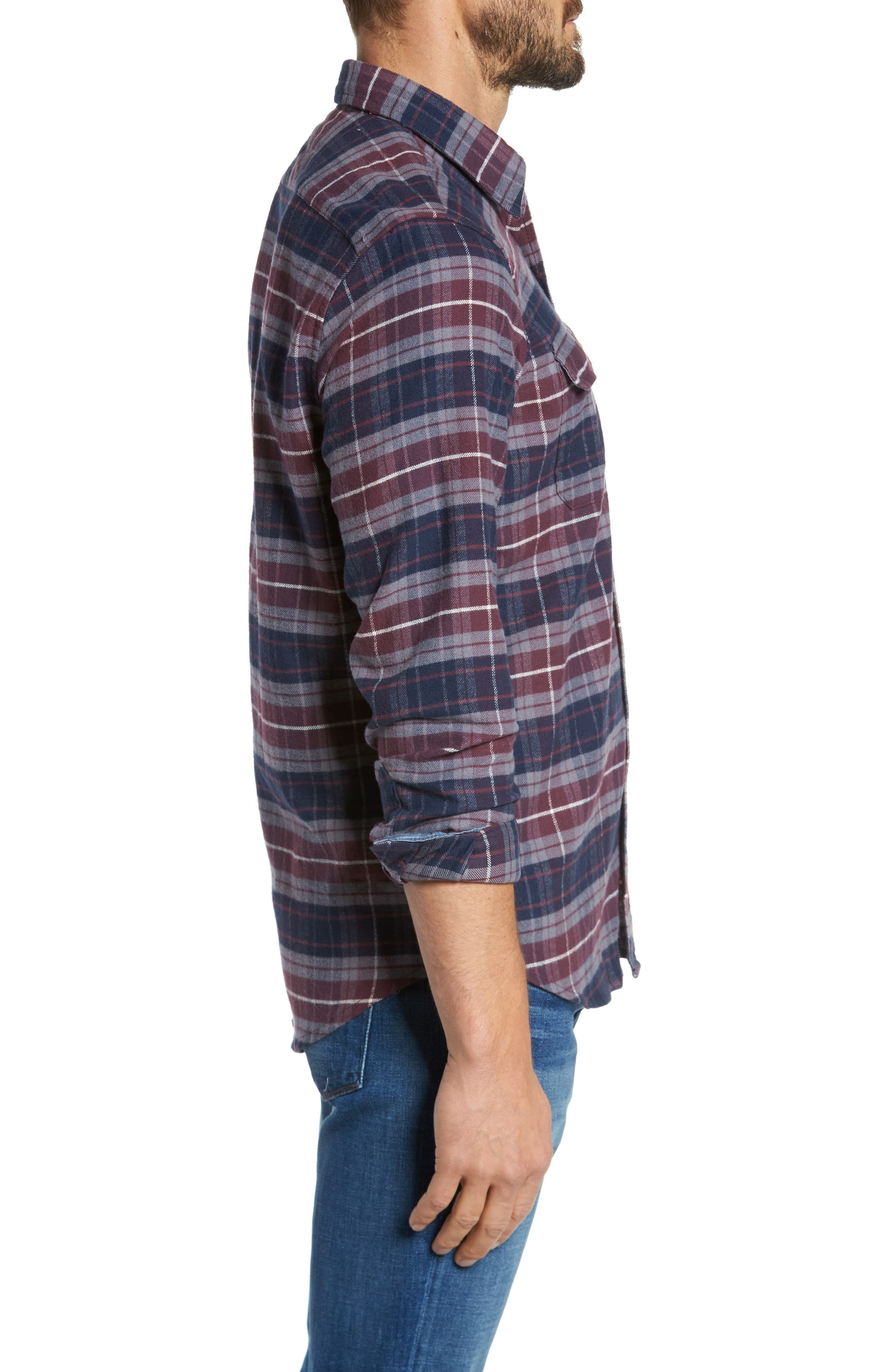 Plaid Flannel Sport Shirt,                             Alternate thumbnail 3, color,                             Raspberry Fudge Trail Plaid