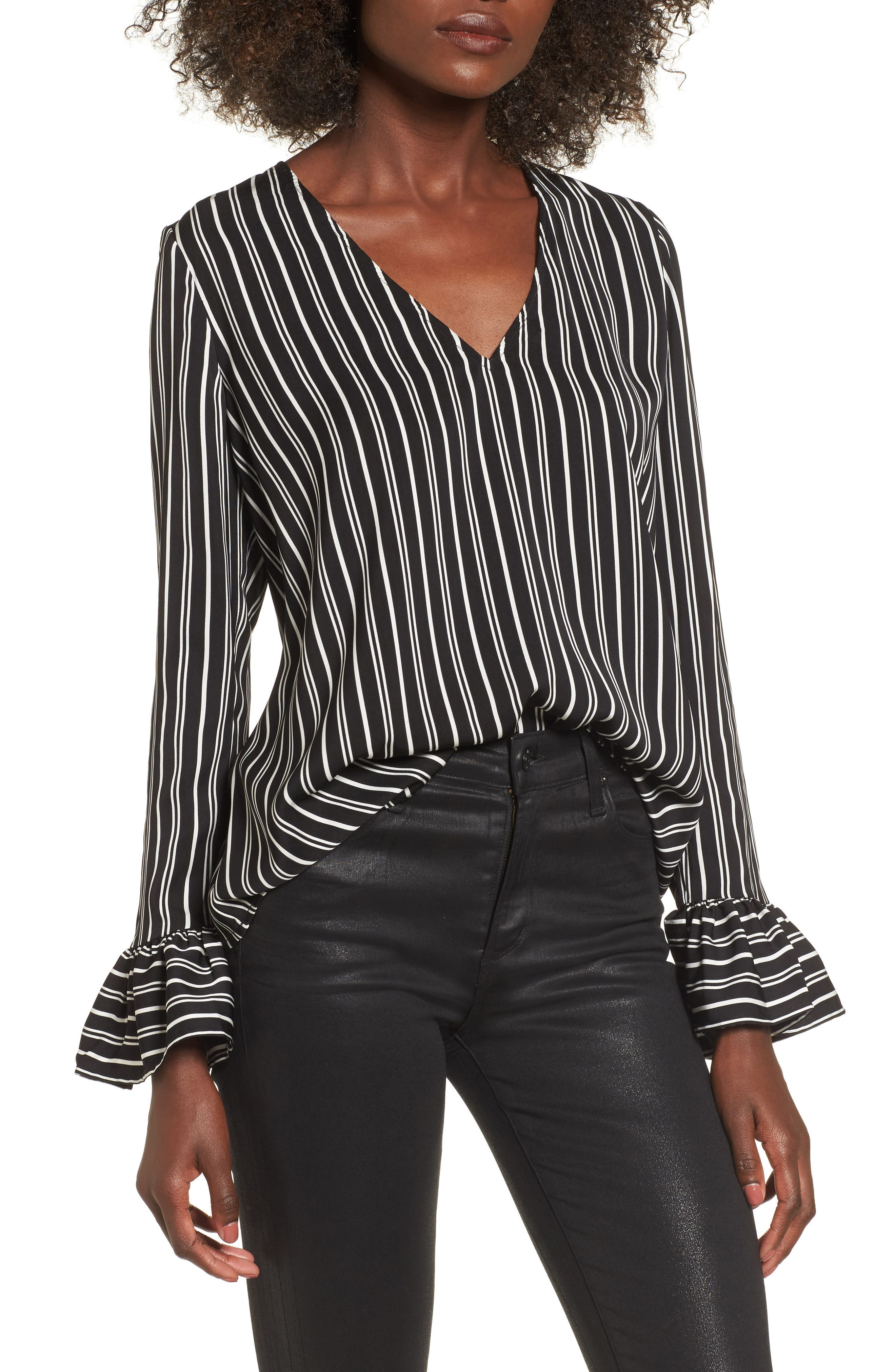 Ophelia Stripe Flare Cuff Top,                             Main thumbnail 1, color,                             Black W/ Ivory