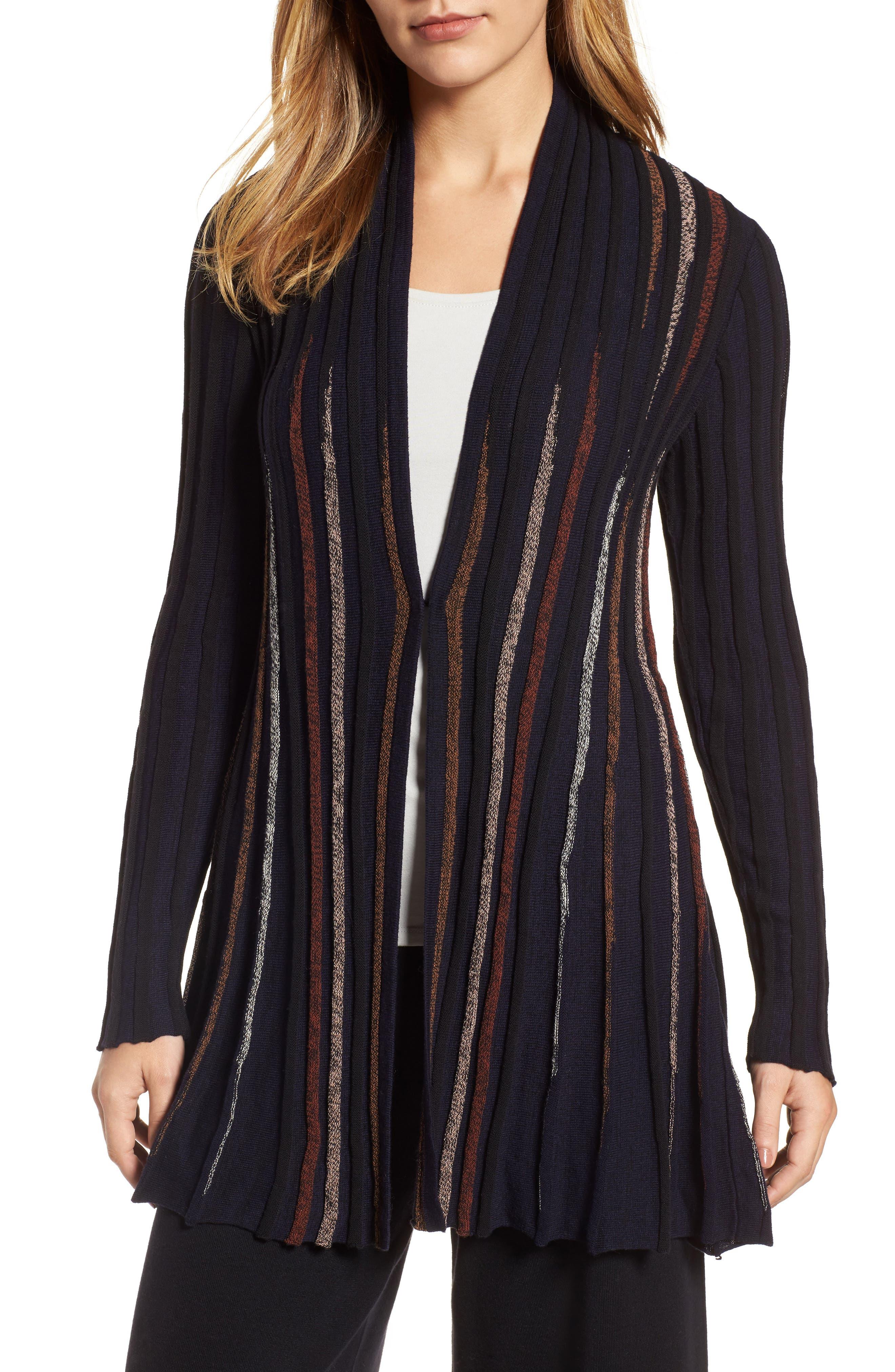 Contrast Ribbed Long Cardigan,                         Main,                         color, Black Multi