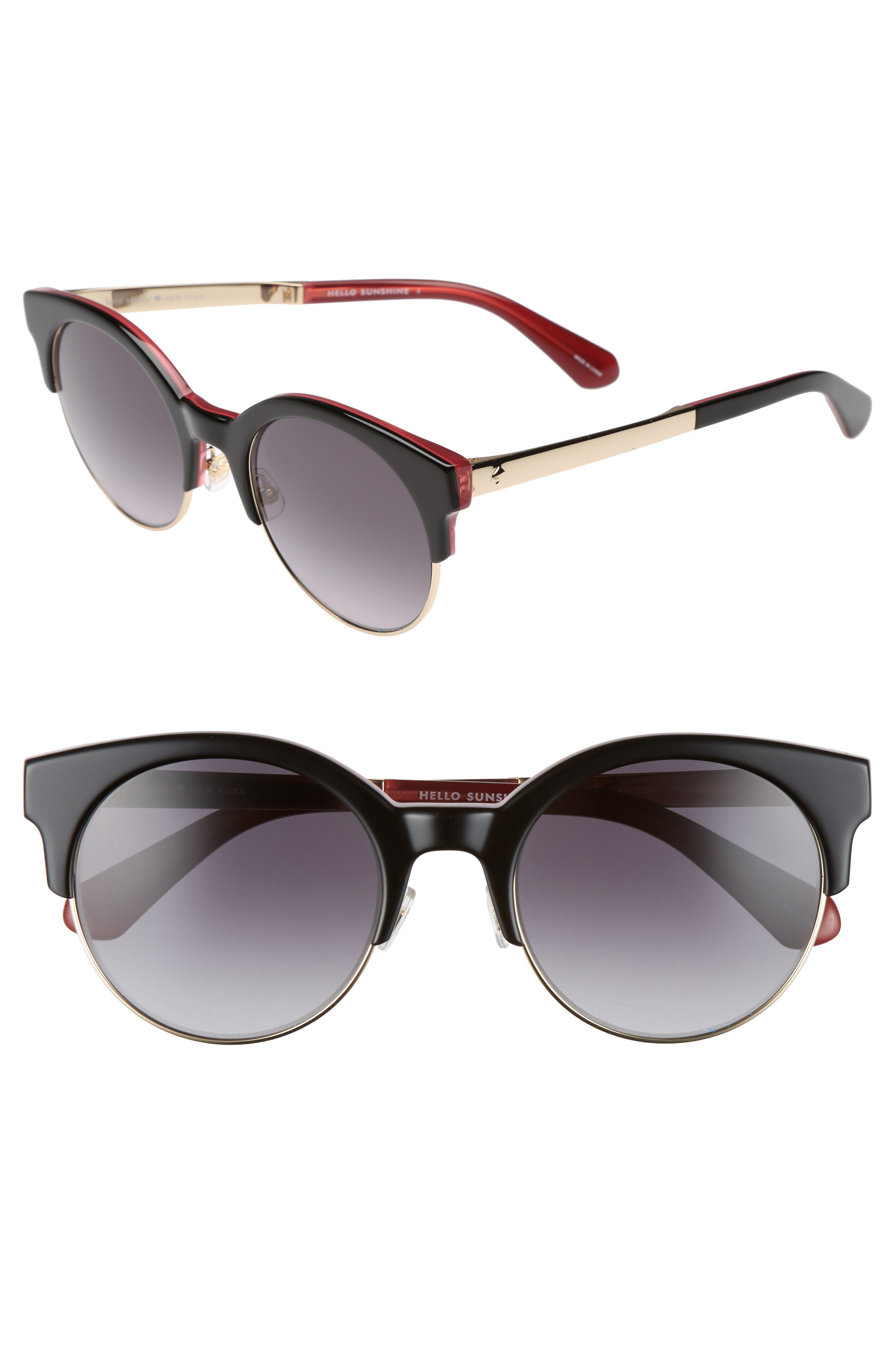 kate spade new york kaileen 52mm semi-rimless cat eye sunglasses
