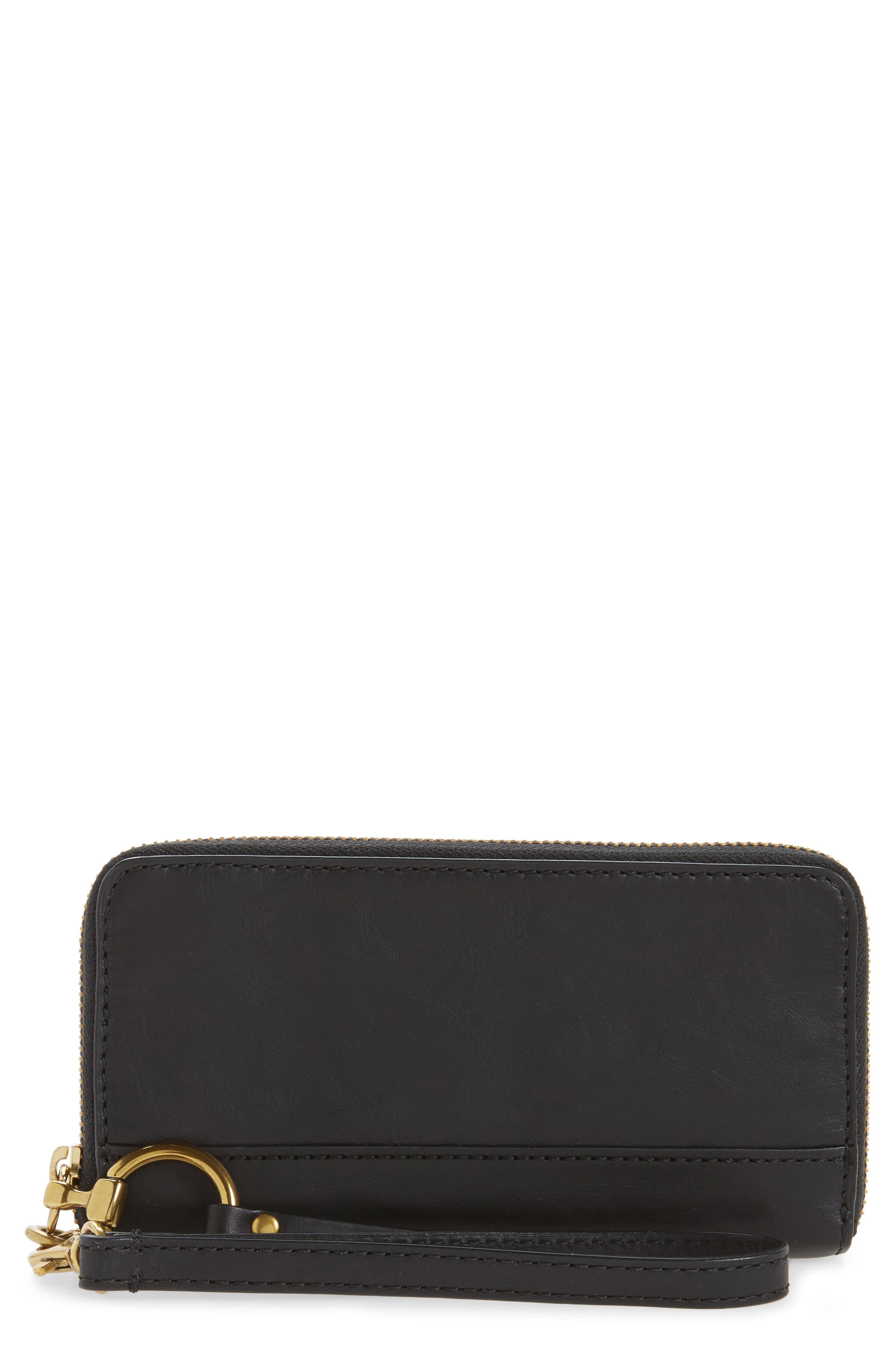 Ilana Harness Phone Leather Zip Wallet,                         Main,                         color, Black