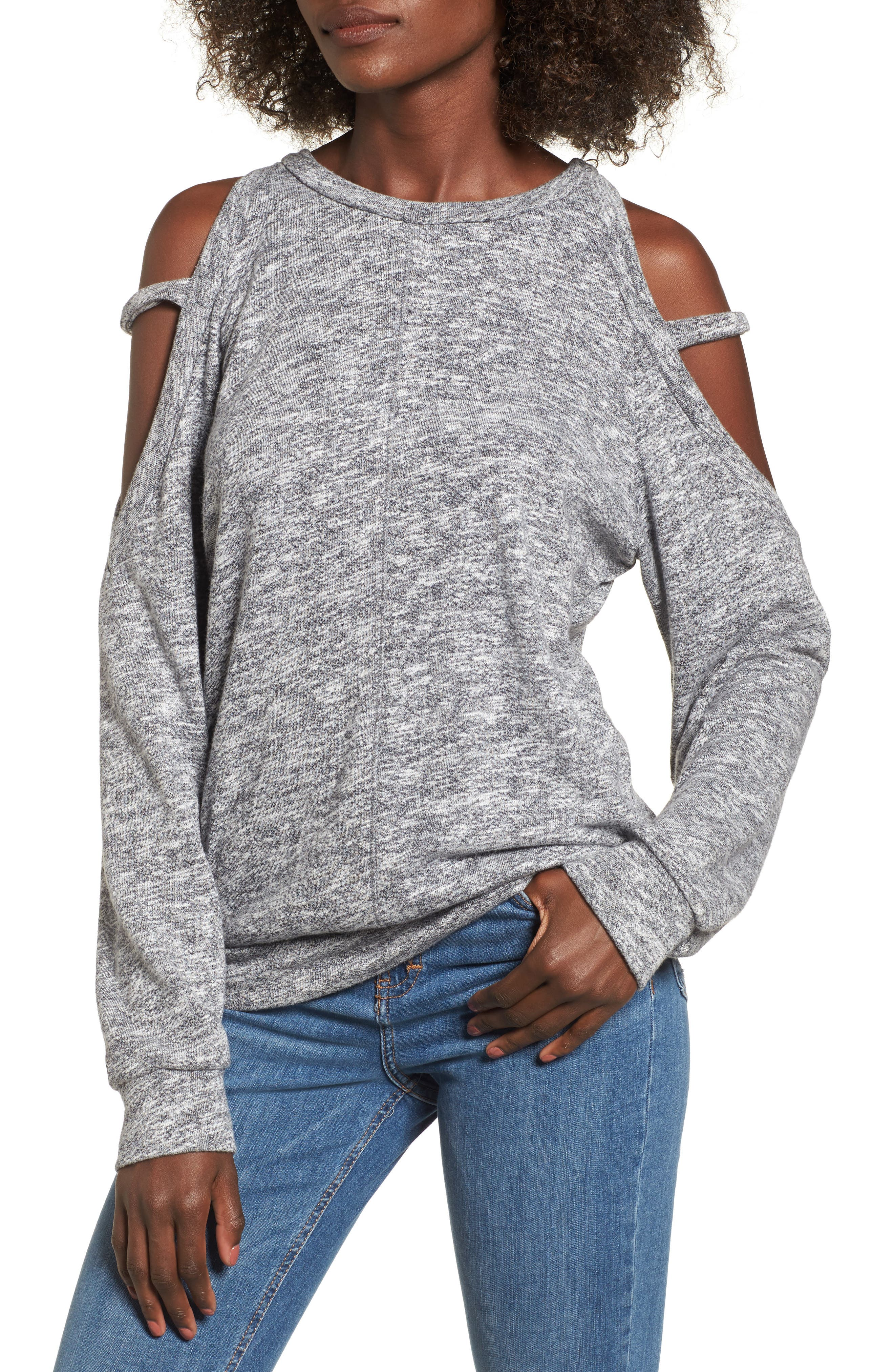 Heathered Cold Shoulder Sweatshirt