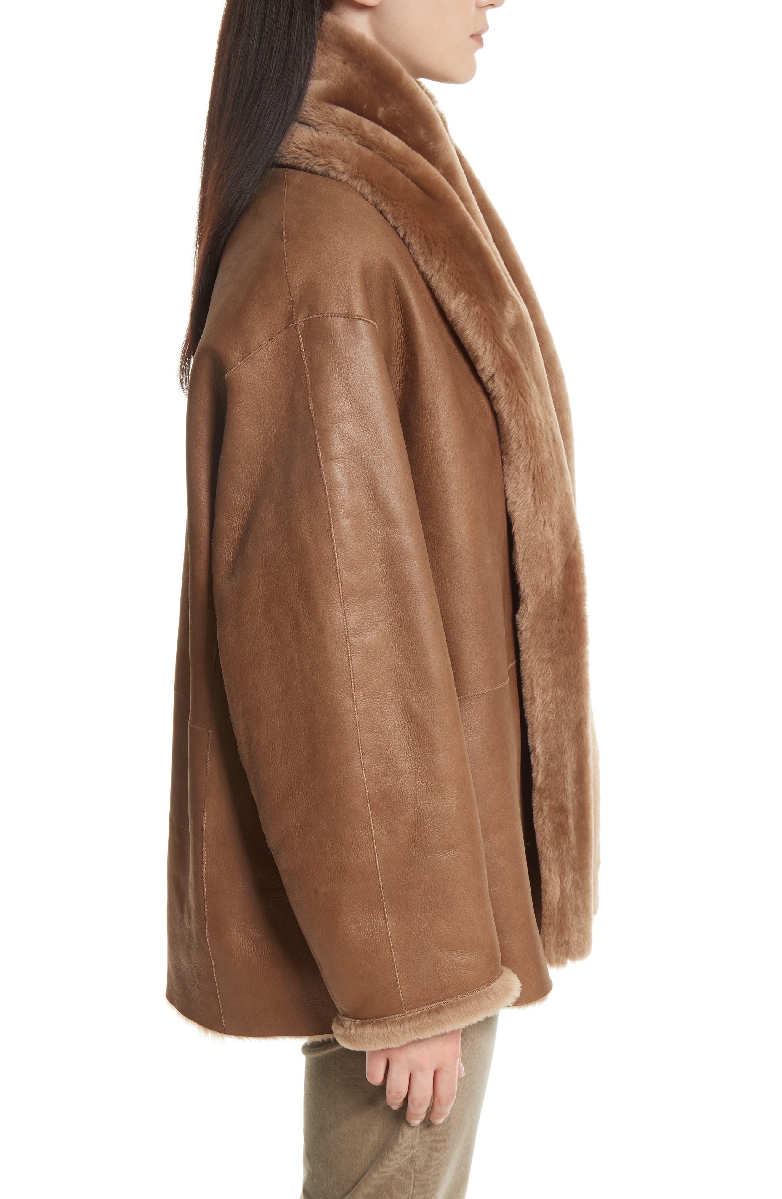 Alternate Image 5  - Vince Shawl Collar Genuine Shearling Reversible Coat
