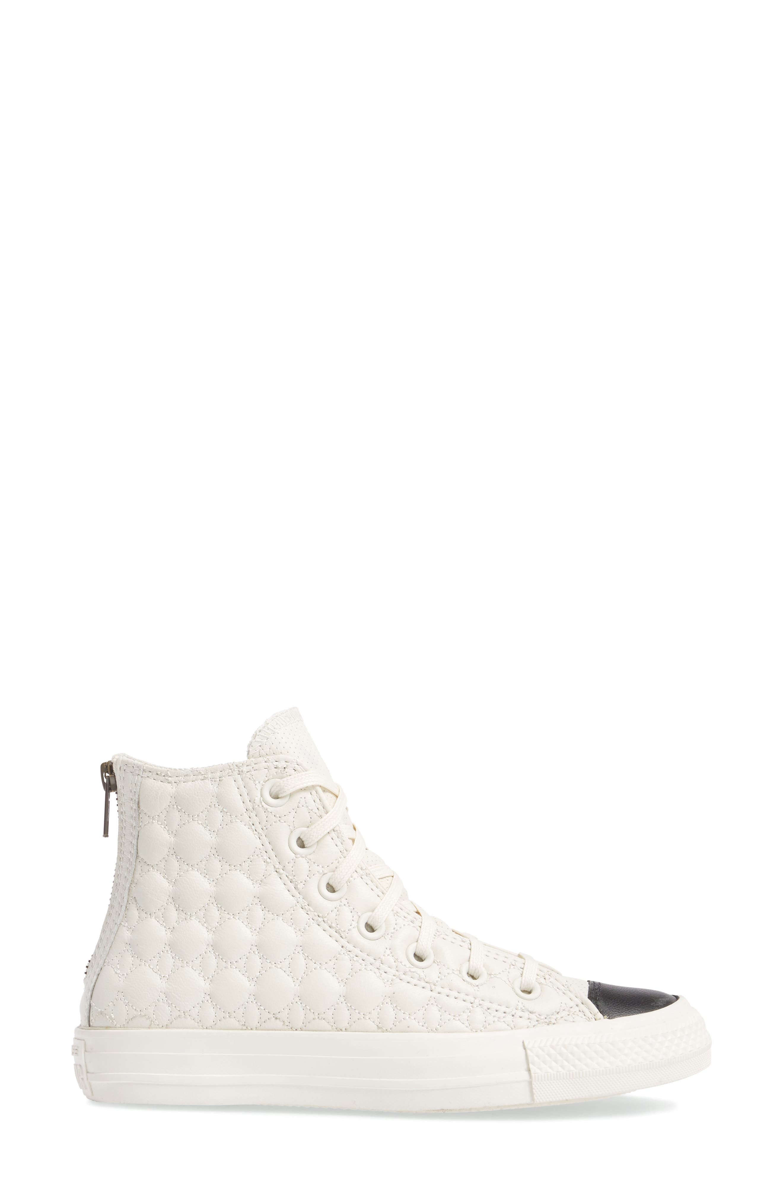All Star<sup>®</sup> Quilted High Top Sneaker,                             Alternate thumbnail 3, color,                             Egret Leather