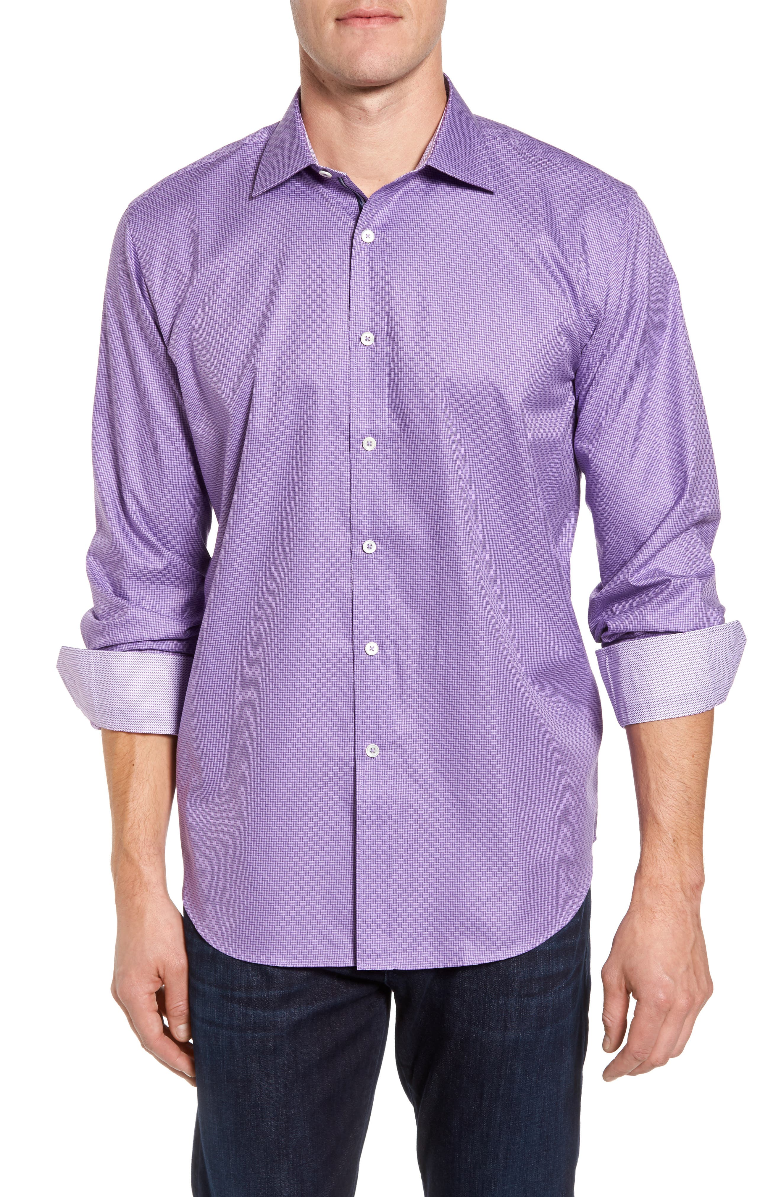 Classic Fit Print Sport Shirt,                         Main,                         color, Orchid