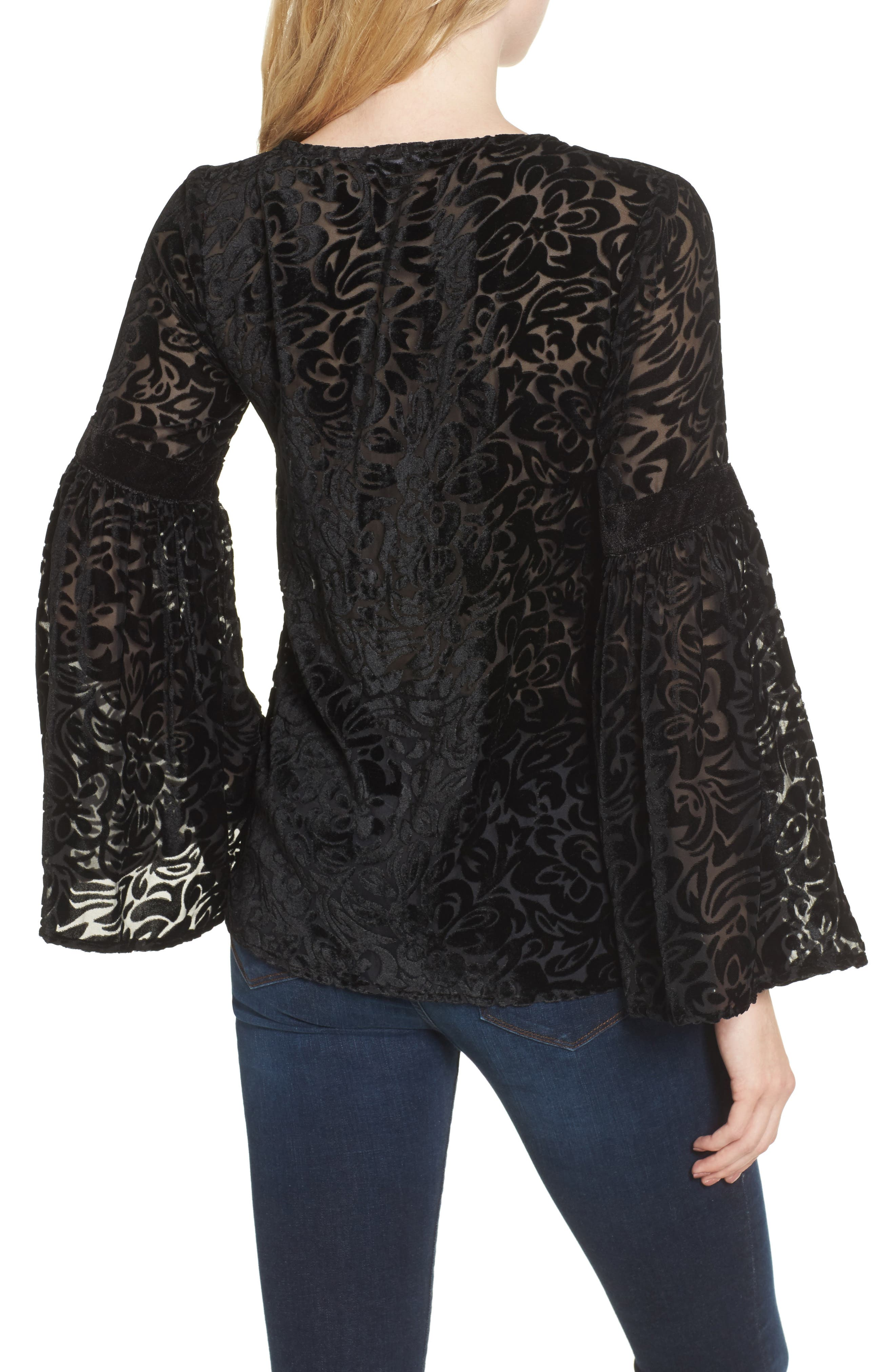 Alternate Image 2  - KAS NEW YORK Velvet Burnout Bell Sleeve Peasant Top