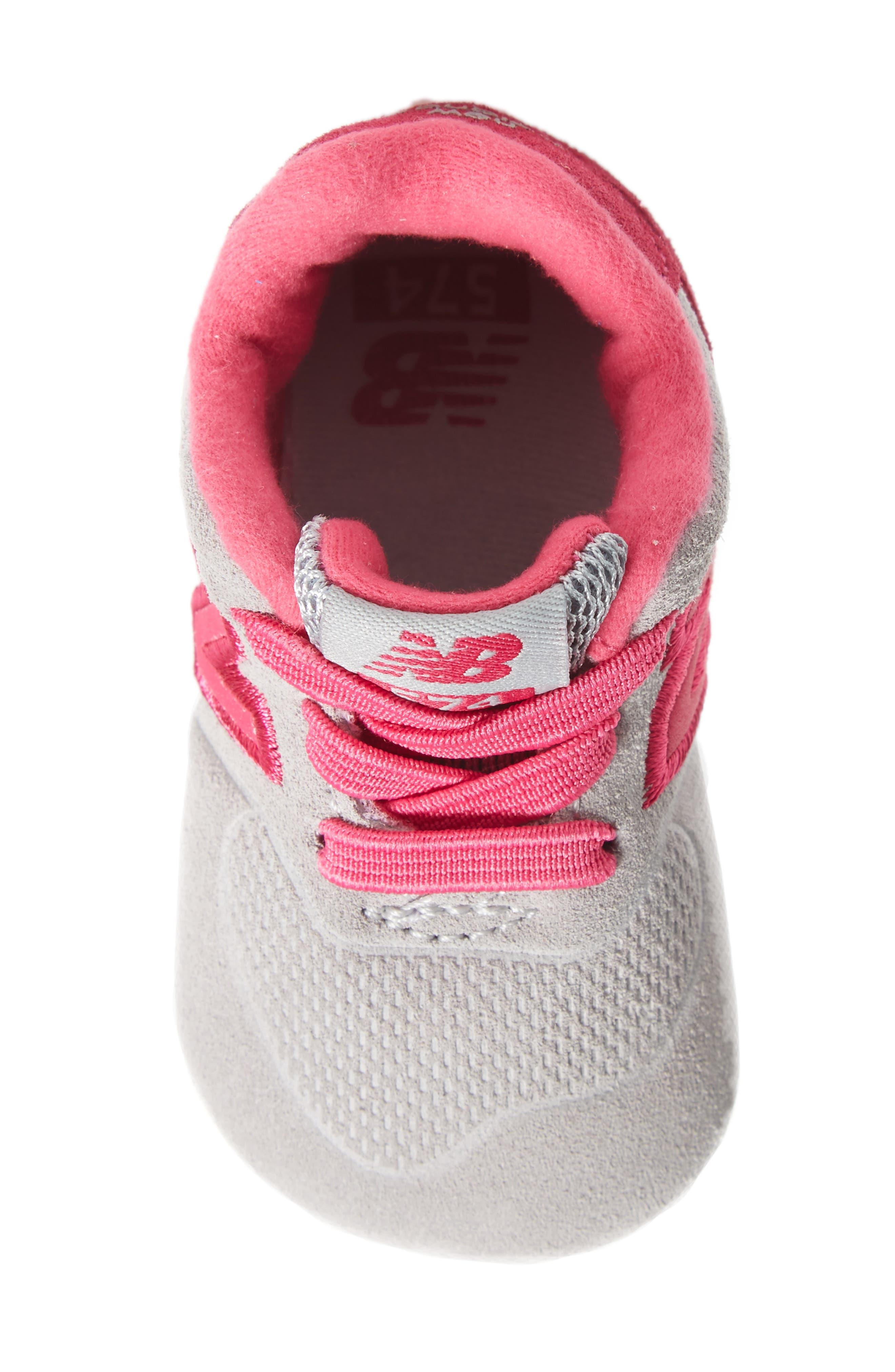 574 Crib Shoe,                             Alternate thumbnail 5, color,                             Pink/ Grey