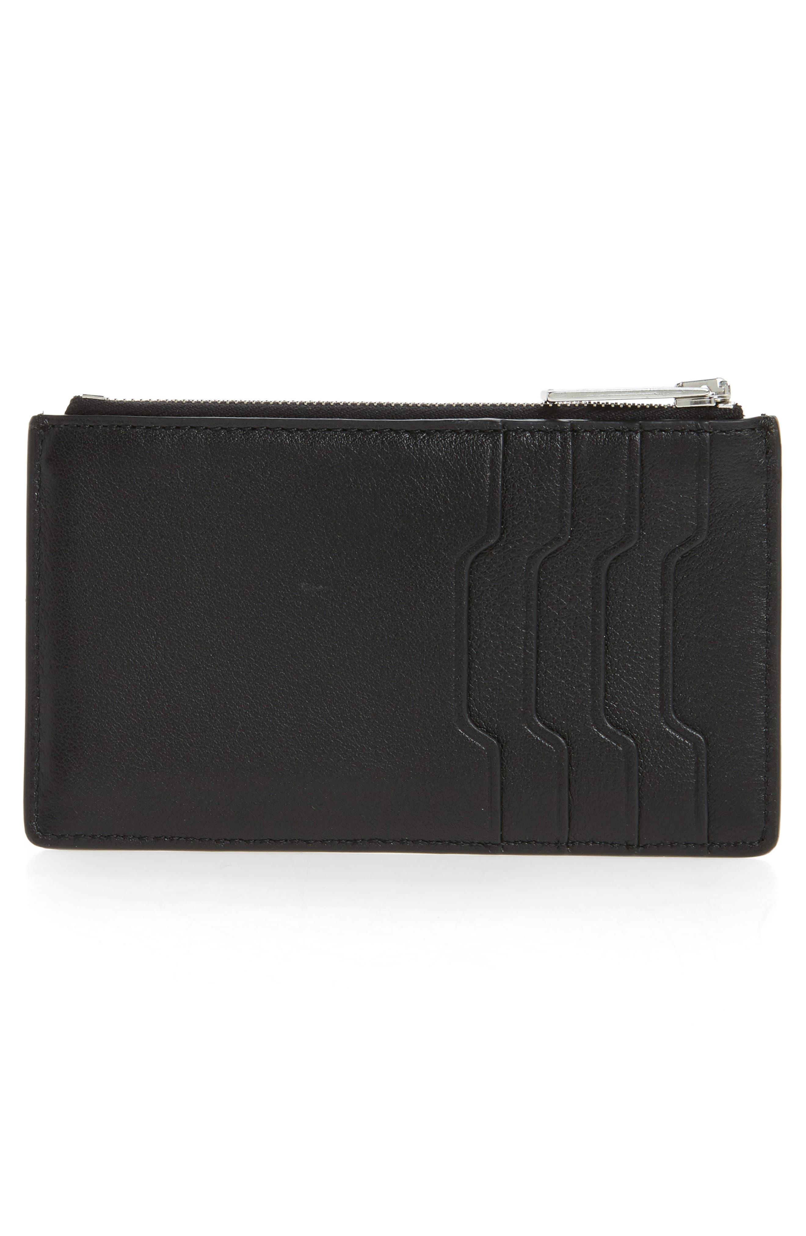 Studded Leather Card Case,                             Alternate thumbnail 2, color,                             Black Studs