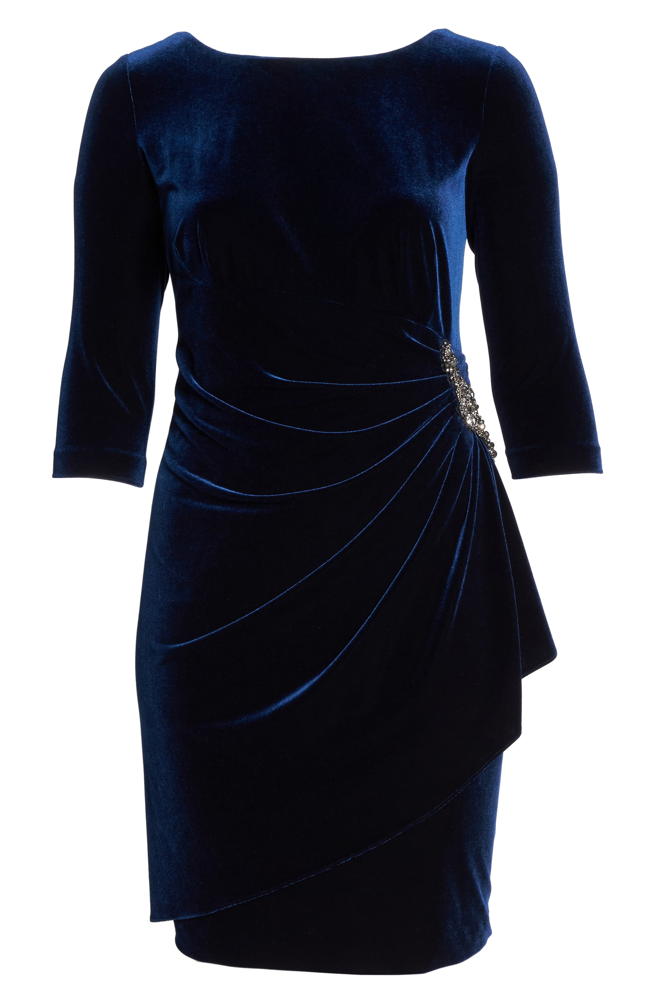 Alternate Image 6  - Alex Evenings Embellished Faux Wrap Velvet Dress (Plus Size)