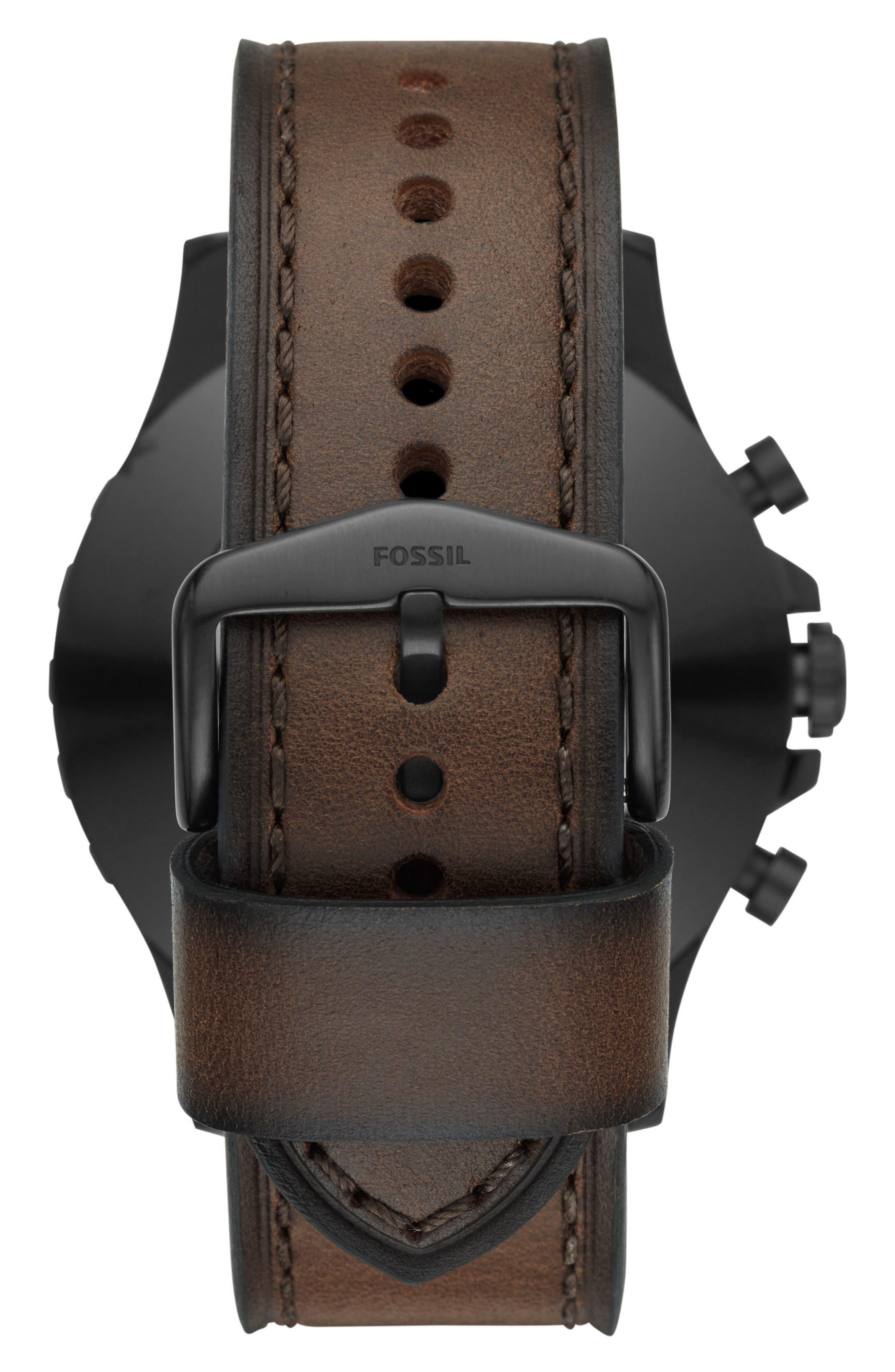 Nate Leather Strap Hybrid Smart Watch, 50mm,                             Alternate thumbnail 2, color,                             Brown/ Black/ Tan