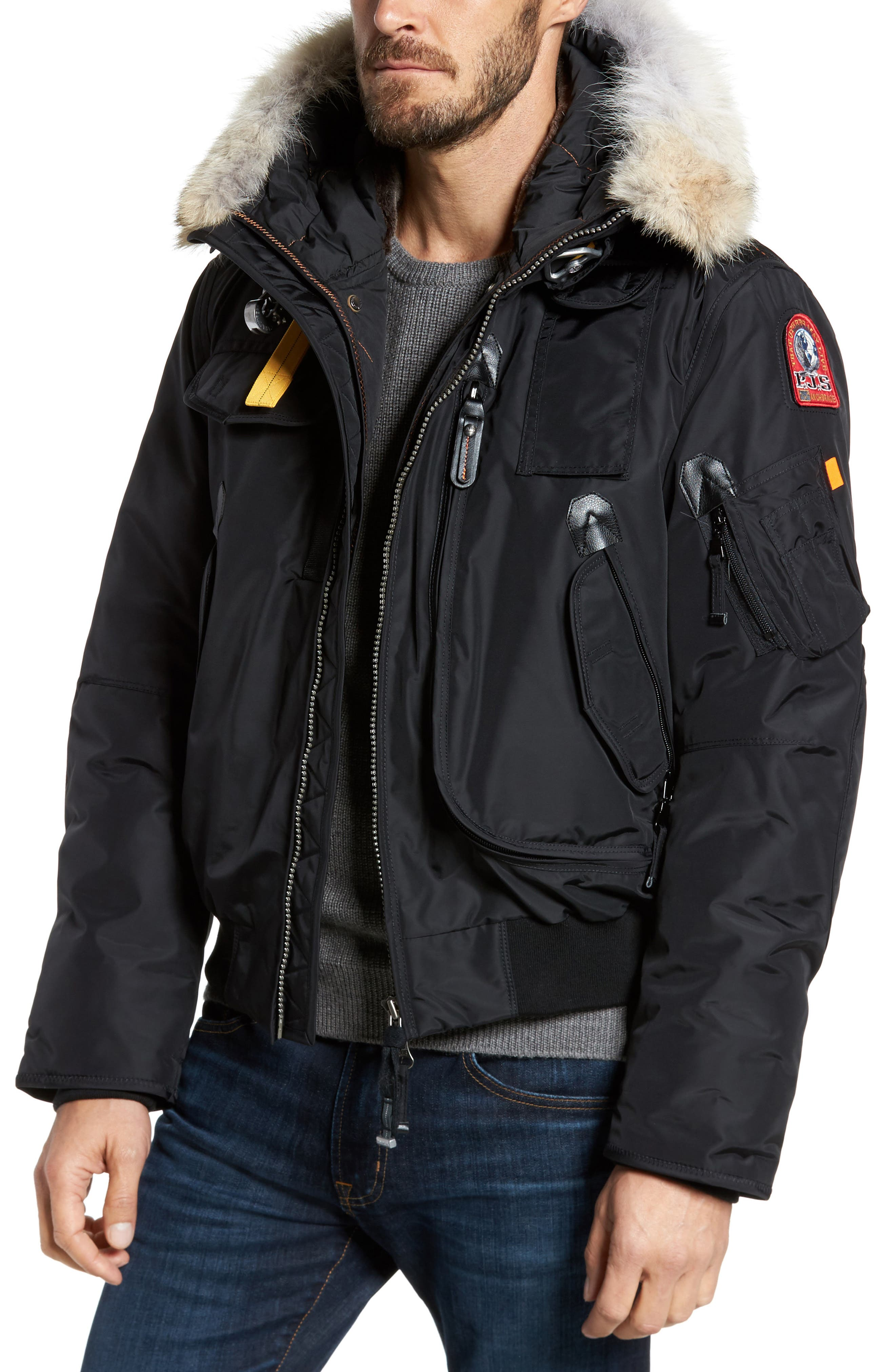 Parajumpers Slim Down Bomber Jacket with Faux Fur & Genuine Coyote Fur Trim