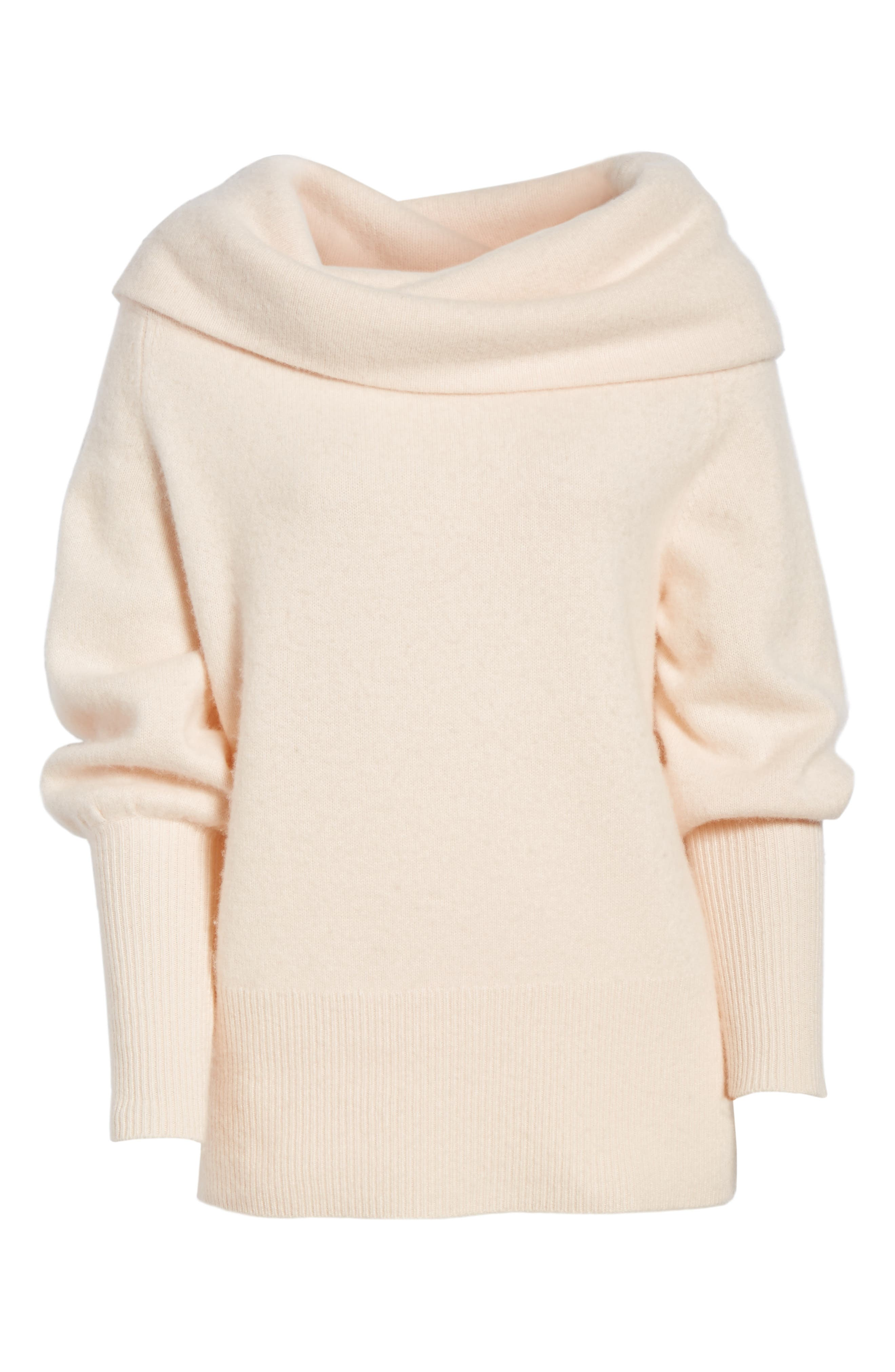 Convertible Neck Cashmere Sweater,                             Alternate thumbnail 7, color,                             Pink Adobe