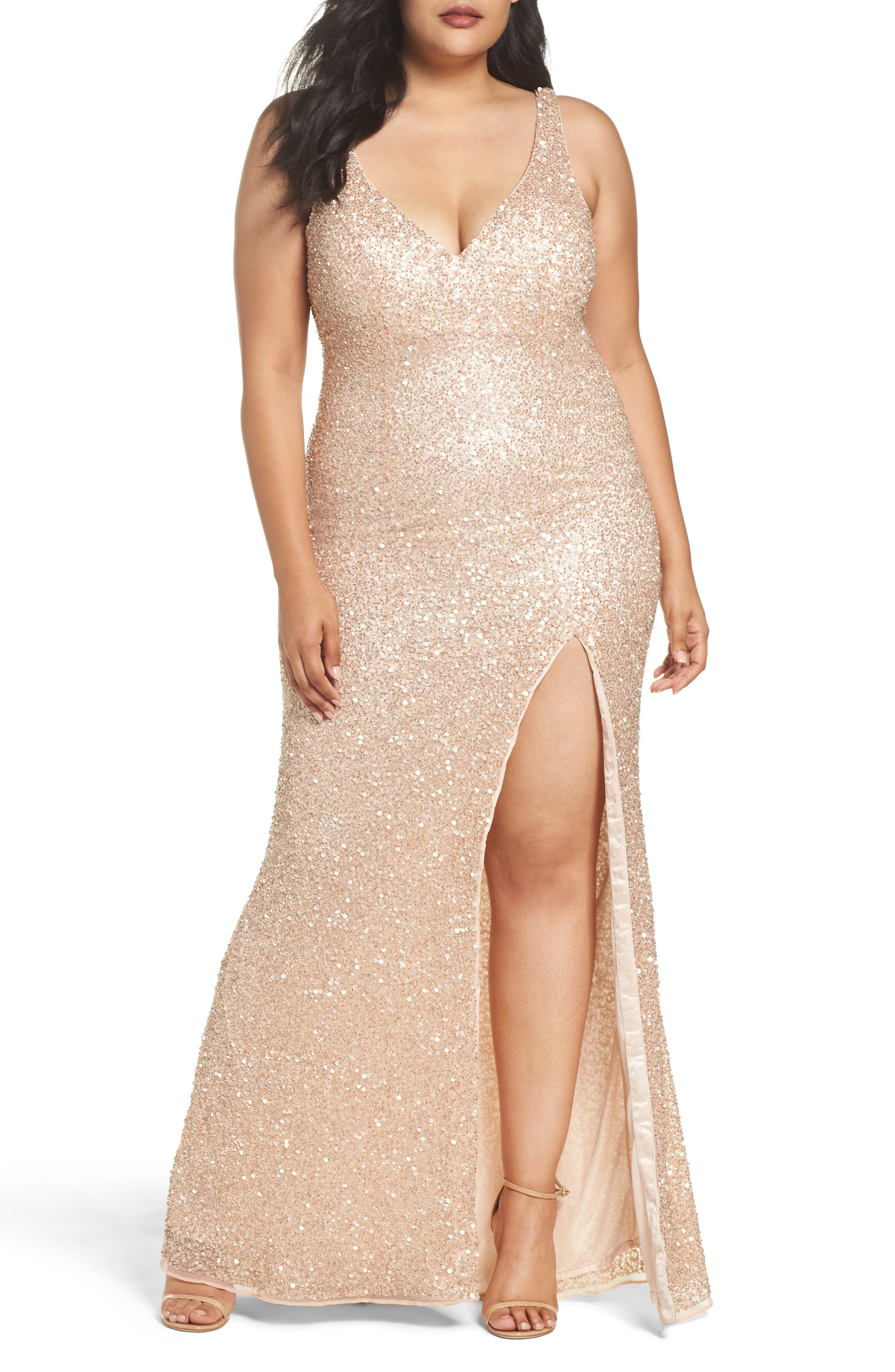 Mac Duggal Front Slit Sequin Gown (Plus Size)