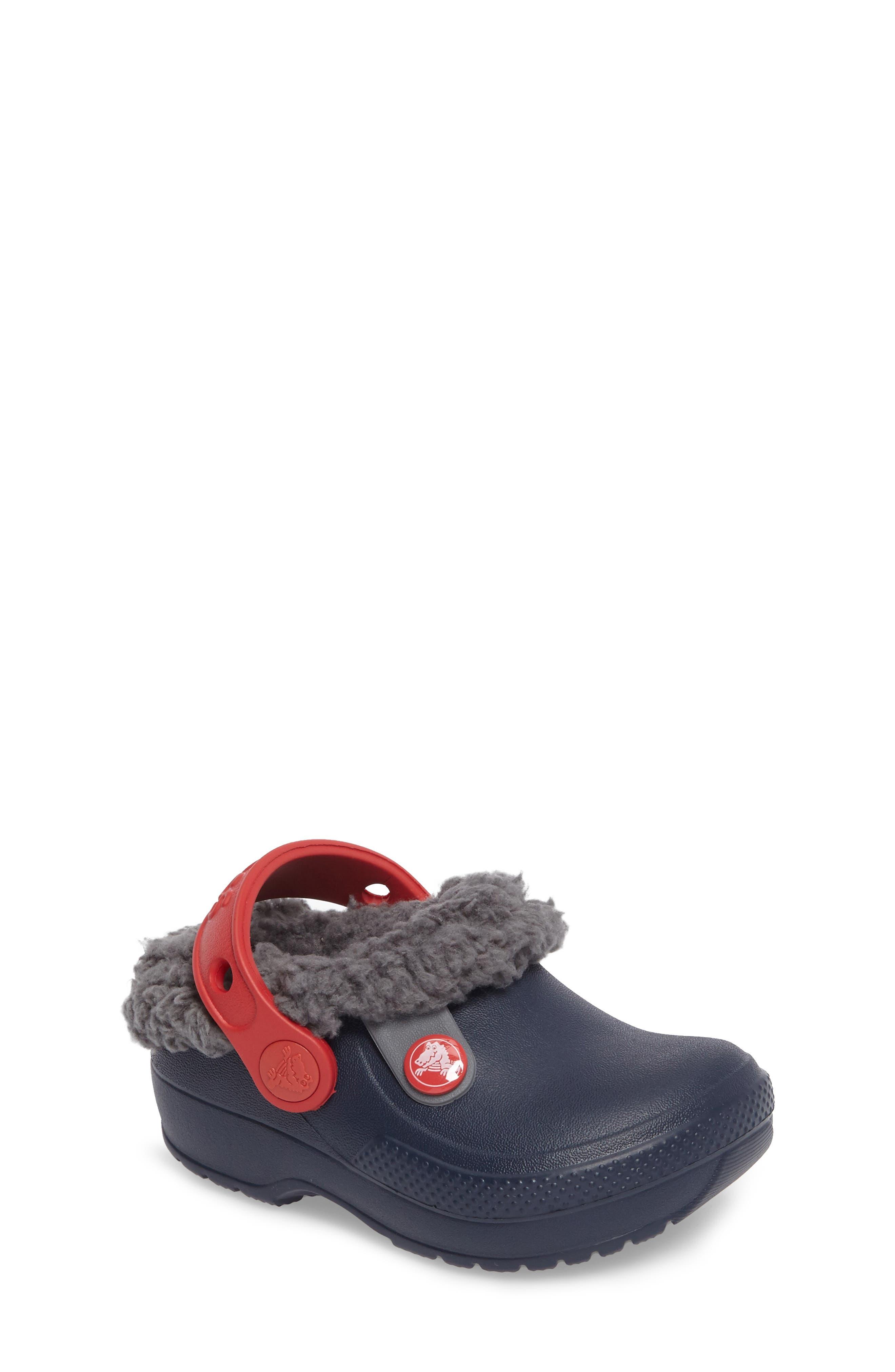 Classic Blitzen III Faux Fur Clog,                         Main,                         color, Navy/ Slate Grey