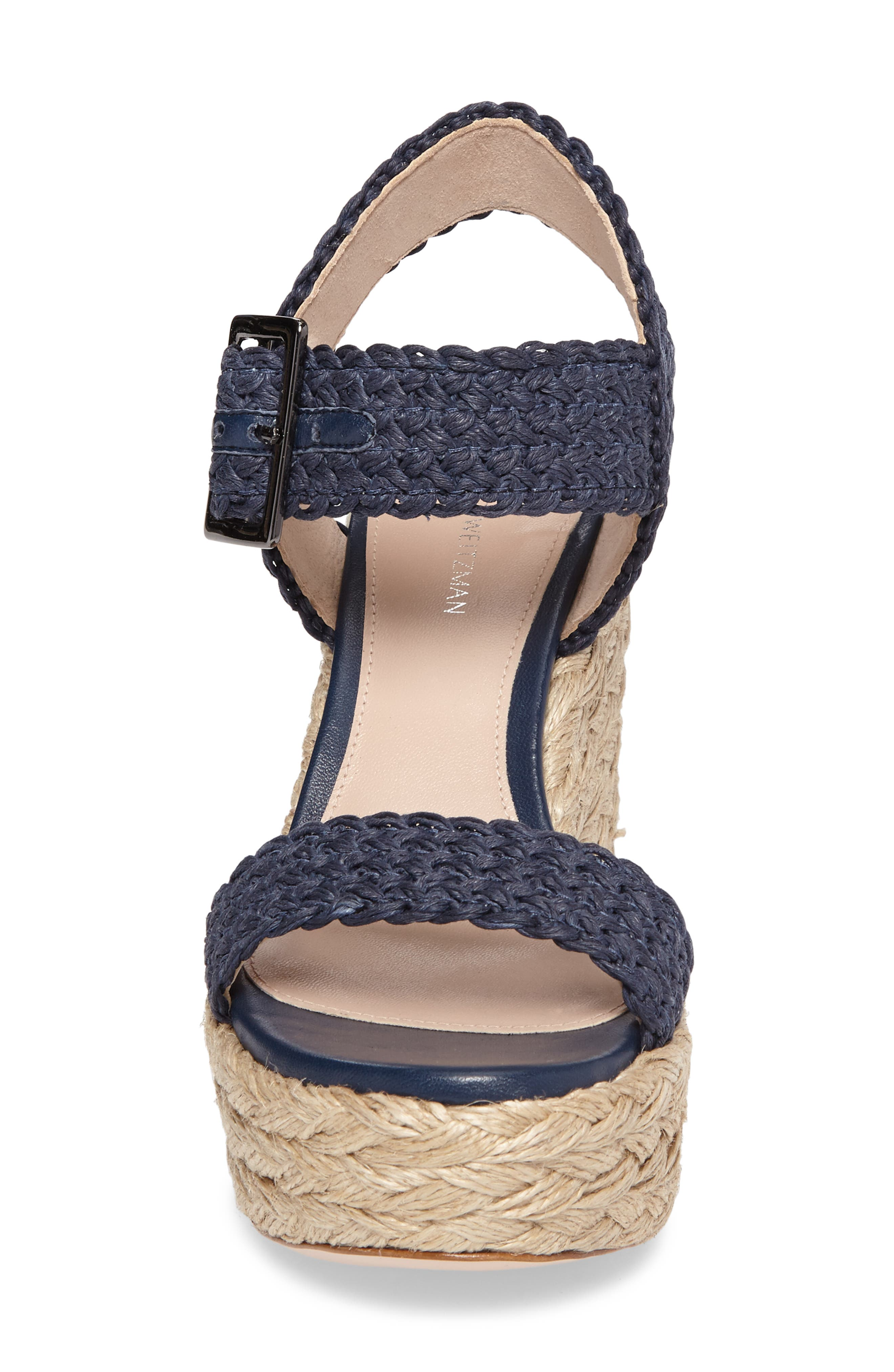 Alexis Espadrille Platform Wedge,                             Alternate thumbnail 4, color,                             Nice Blue Crochet