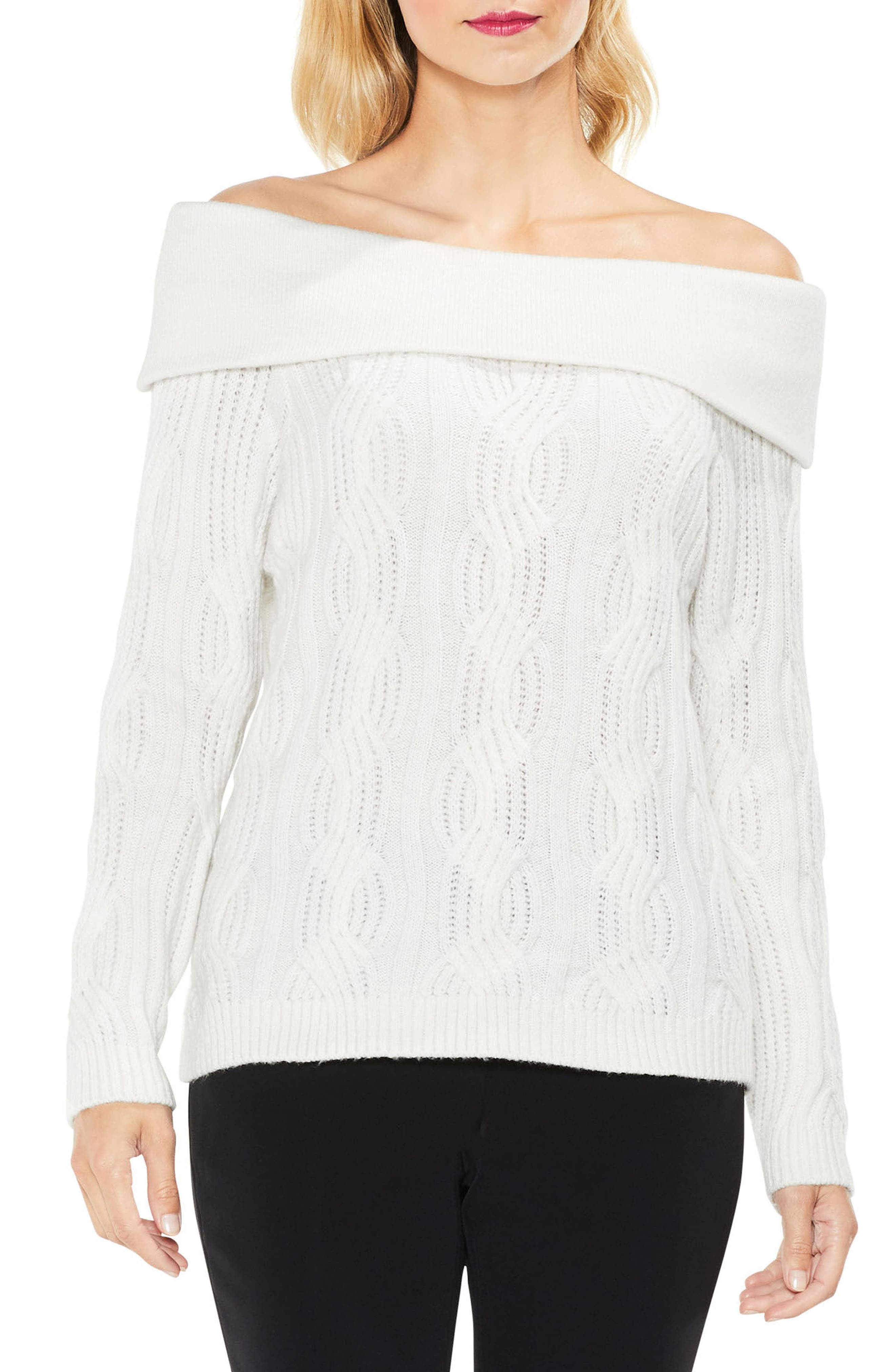 Vince Camuto Off the Shoulder Cable Sweater