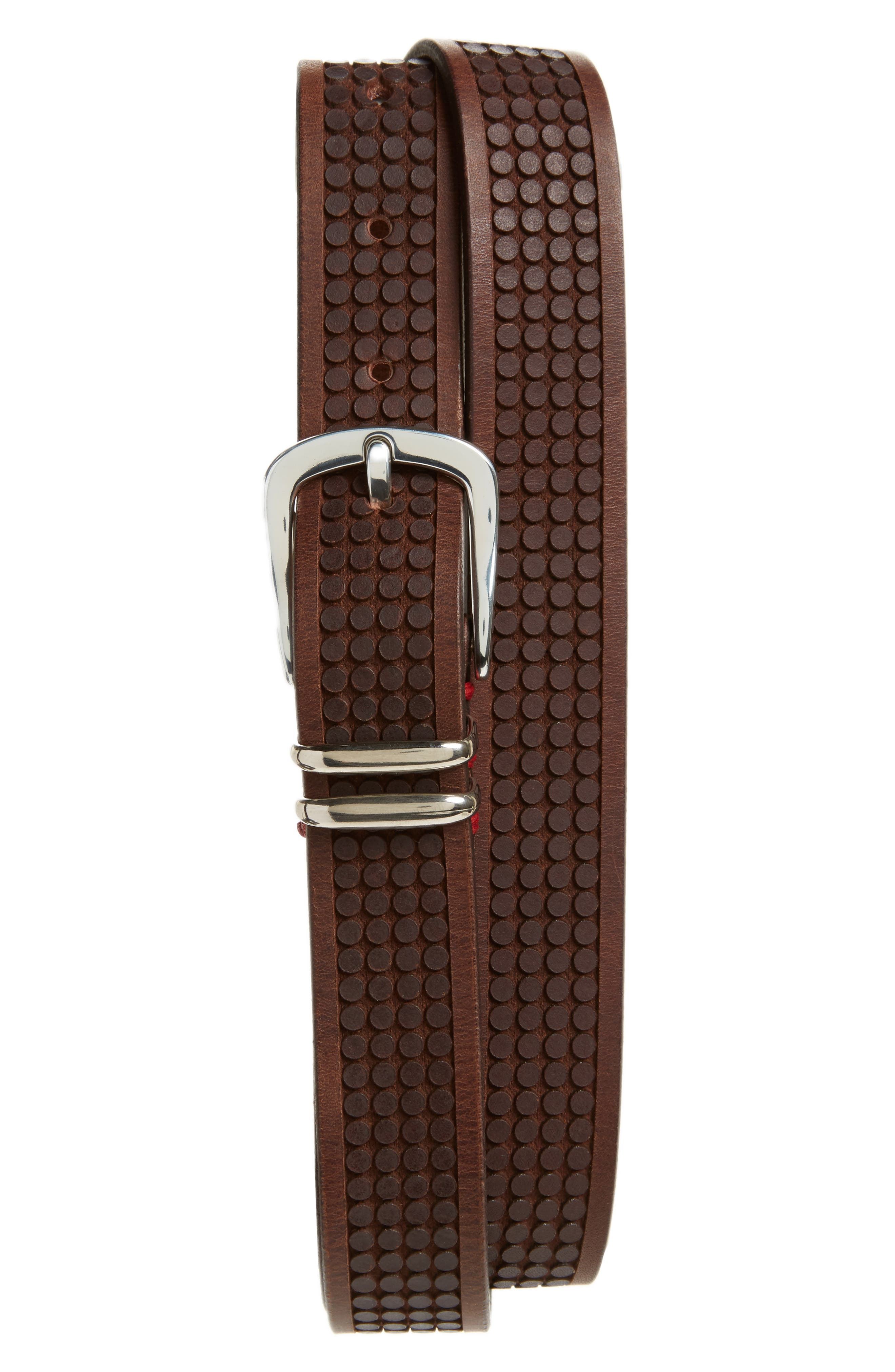 Embossed Leather Belt,                         Main,                         color, Brown