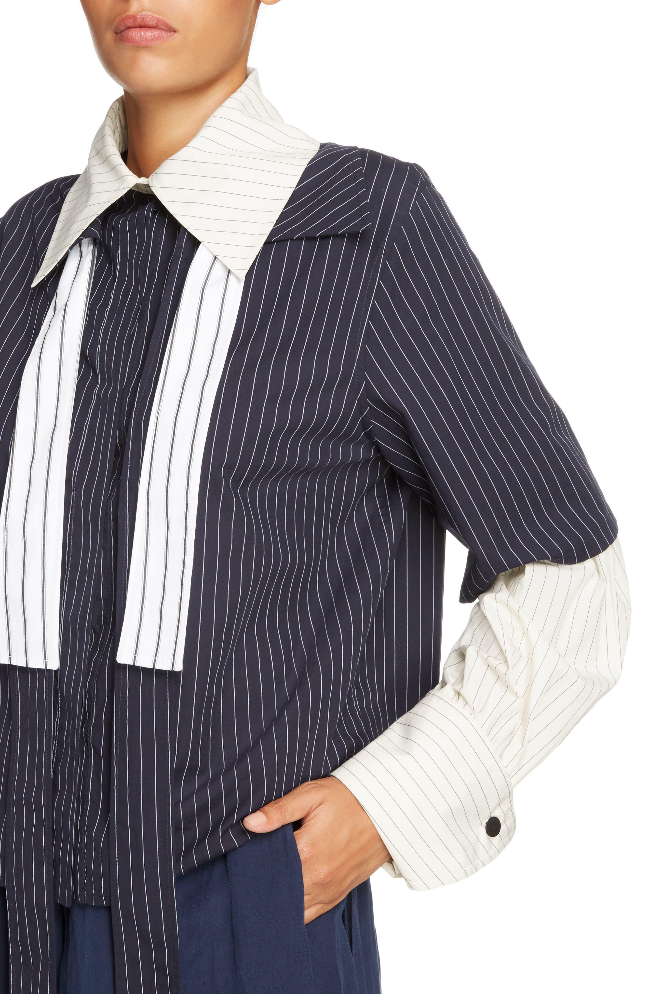 Double Layer Tie Neck Blouse,                             Alternate thumbnail 5, color,                             Navy