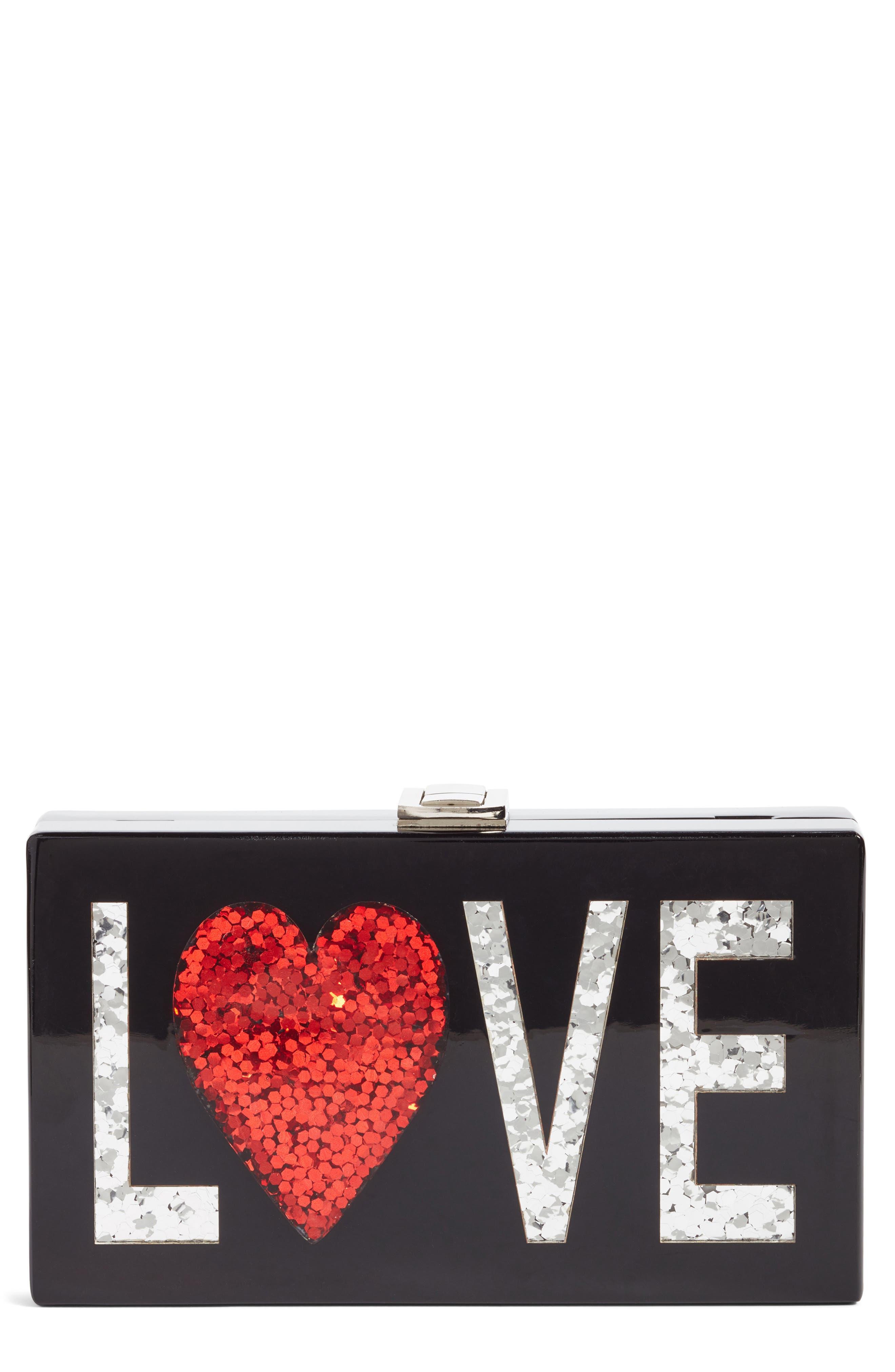 Love Box Clutch,                             Main thumbnail 1, color,                             Black