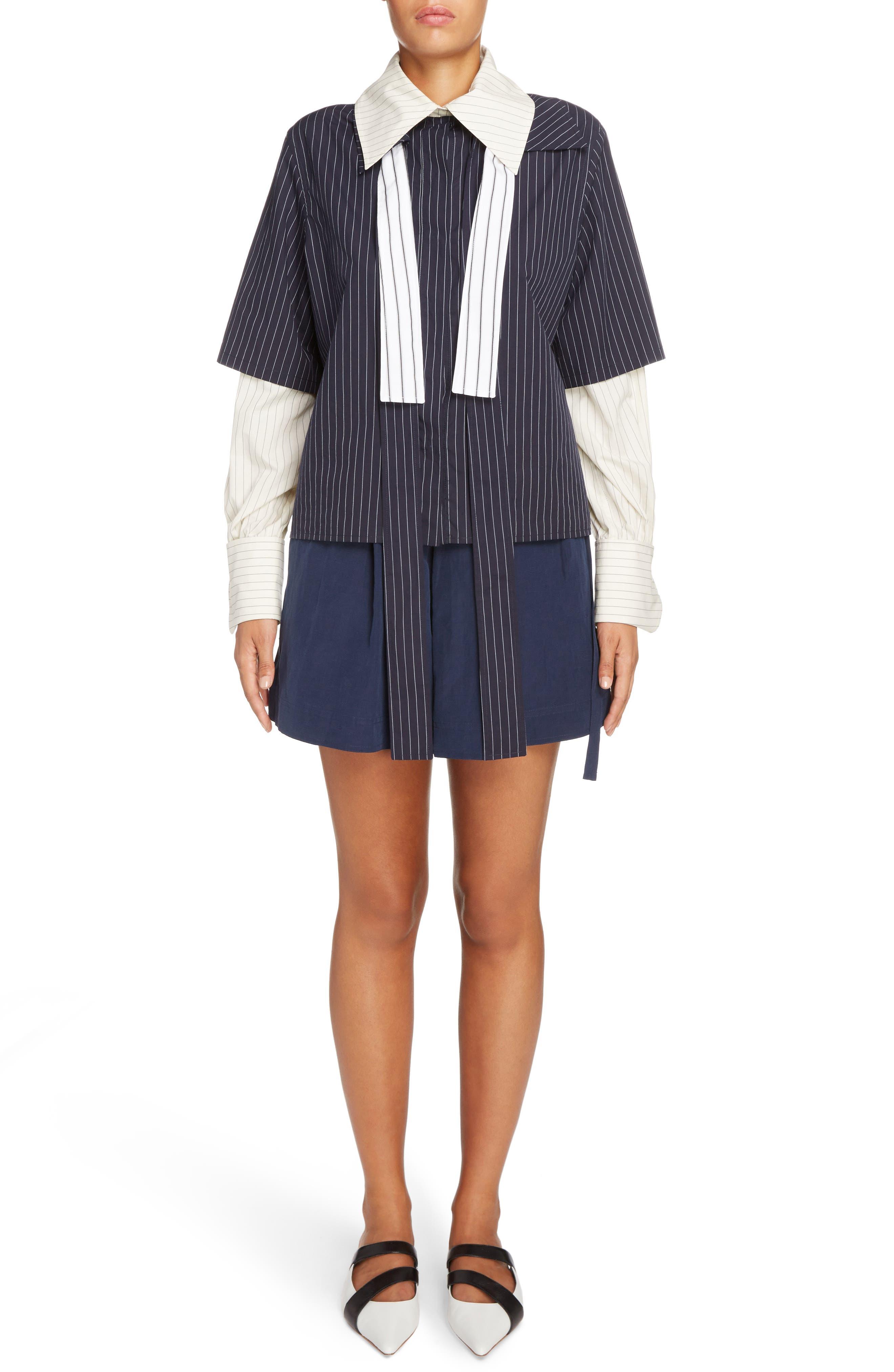 Leather Pocket Linen & Silk Boxer Shorts,                             Alternate thumbnail 2, color,                             Navy