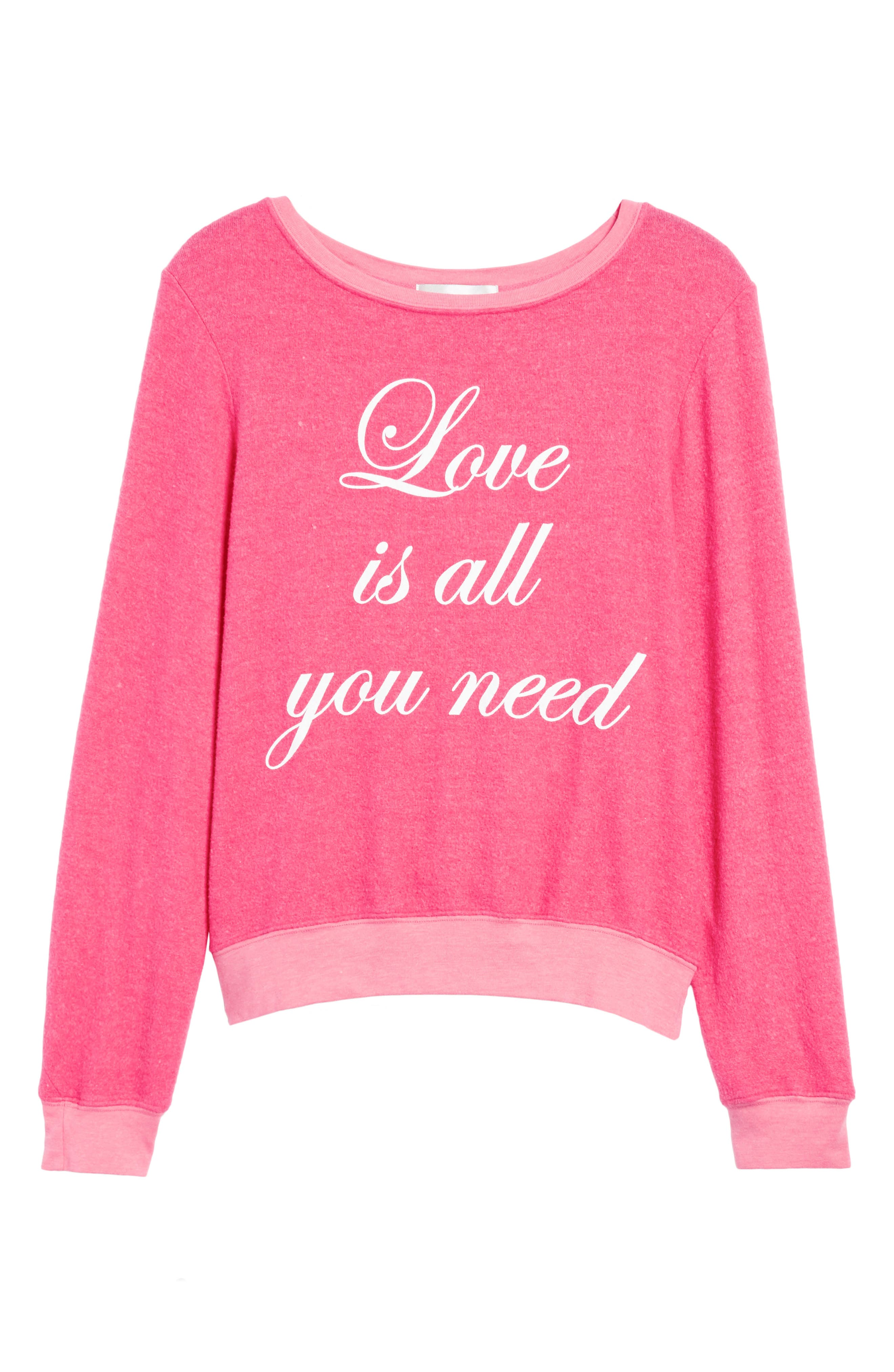 Love Is All Sweatshirt,                             Alternate thumbnail 6, color,                             Neon Pink
