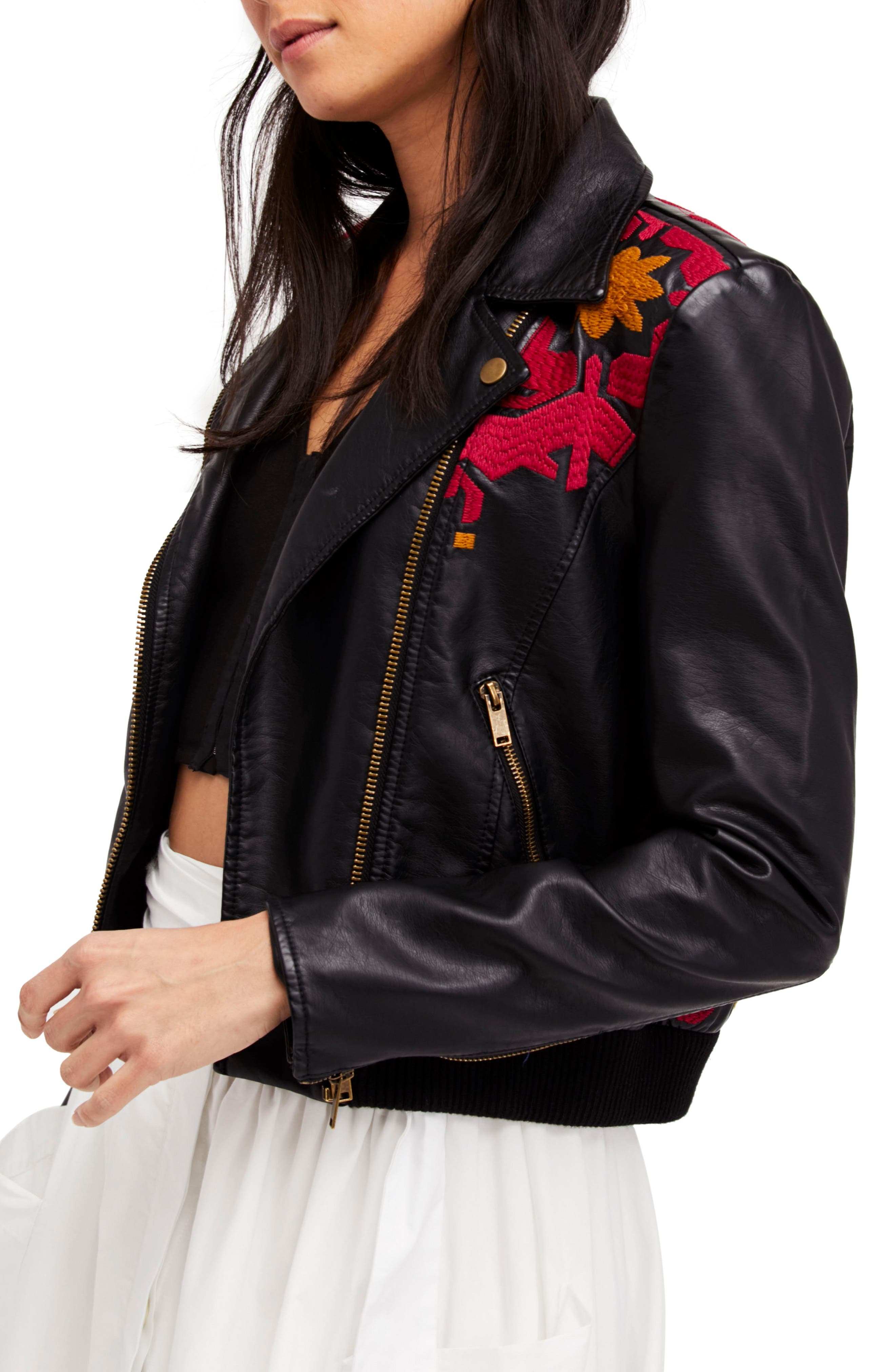Embroidered Faux Leather Moto Jacket,                         Main,                         color, Black