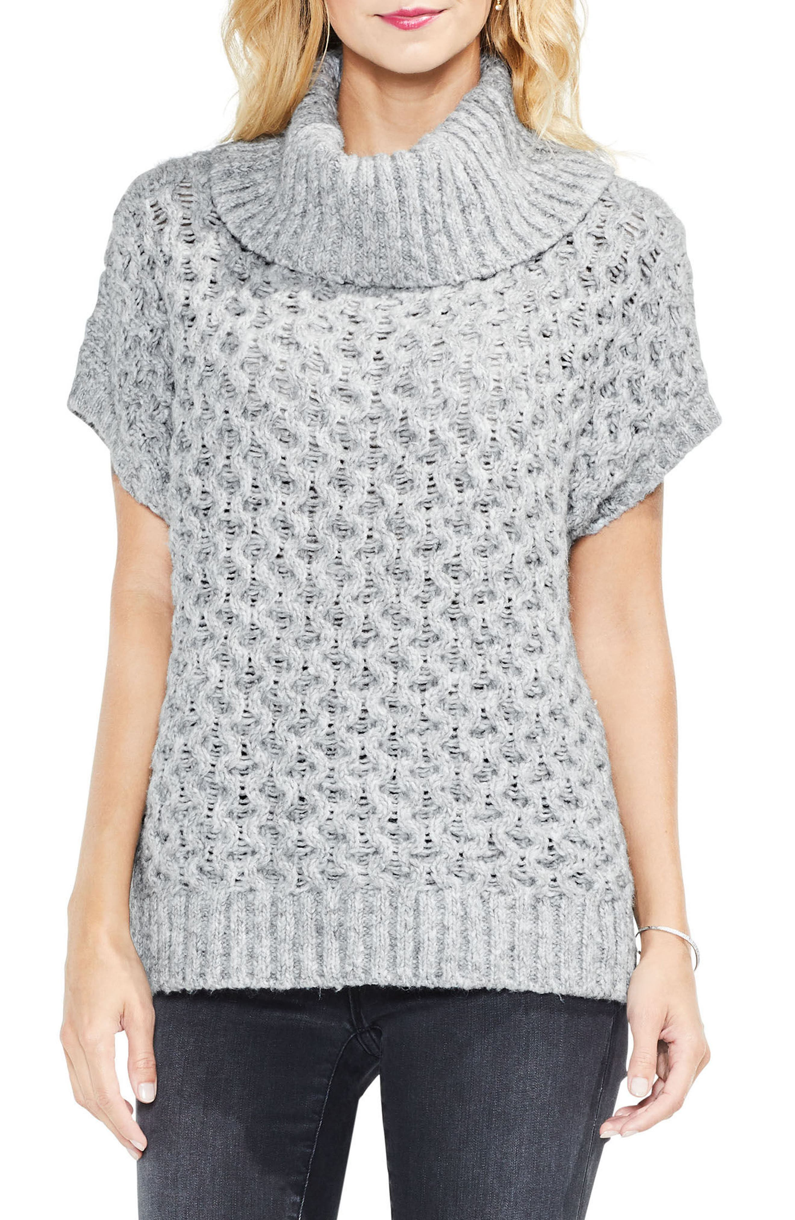 Honeycomb Funnel Neck Sweater,                         Main,                         color, Grey Heather