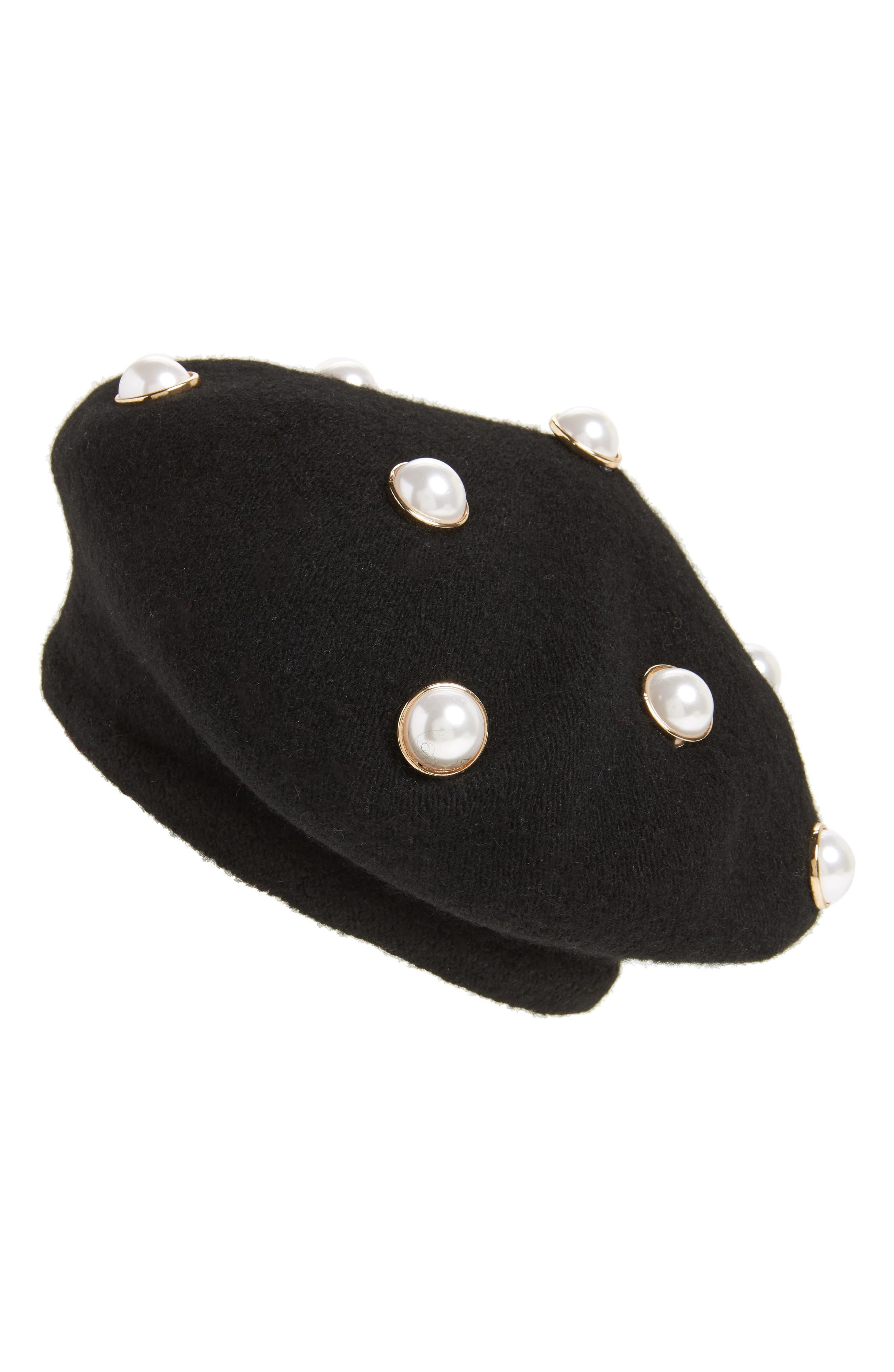 Imitation Pearl Embellished Beret,                             Main thumbnail 1, color,                             Black
