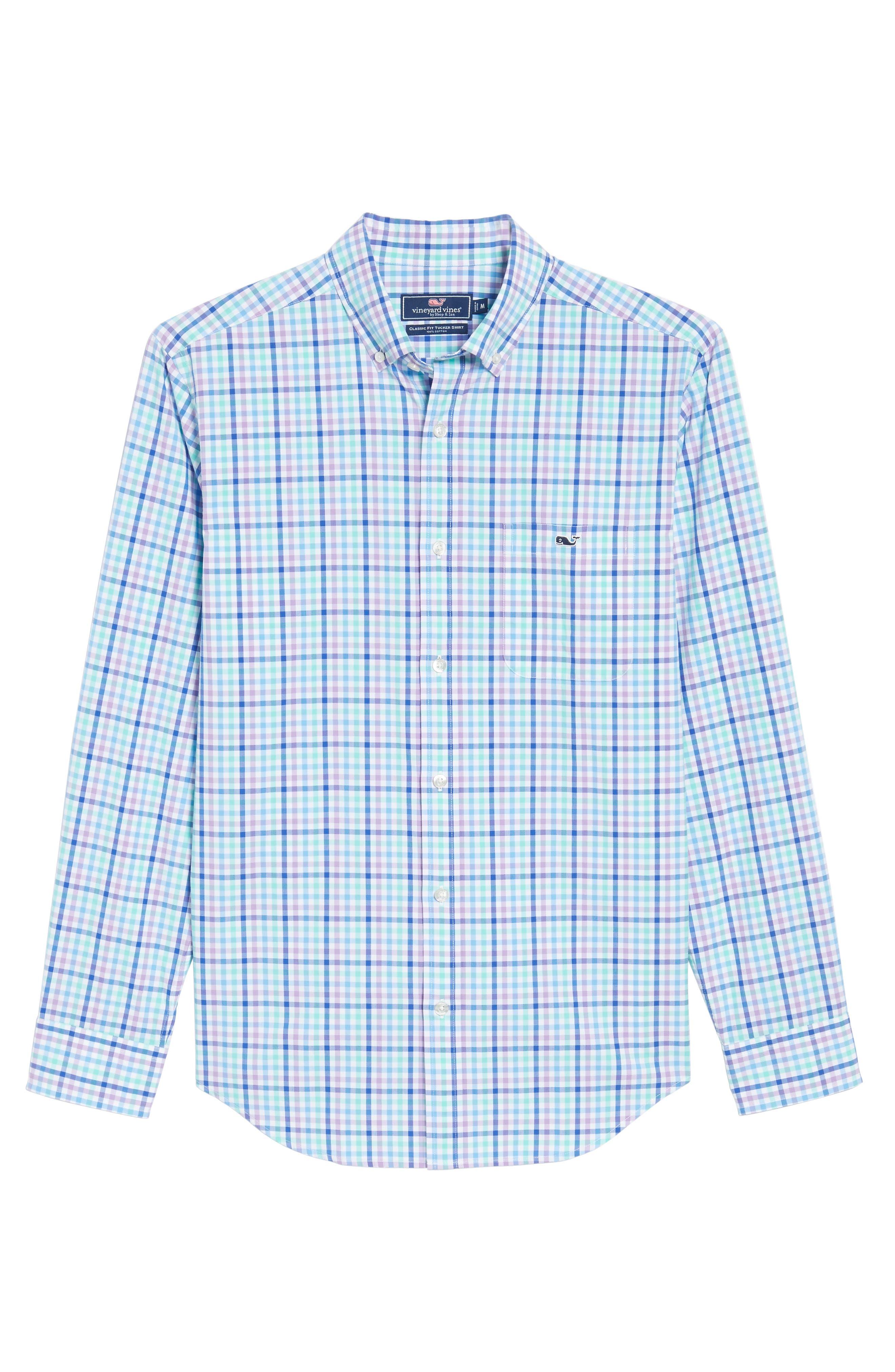 Tucker Gaspar Classic Fit Gingham Sport Shirt,                             Alternate thumbnail 6, color,                             Antigua Green