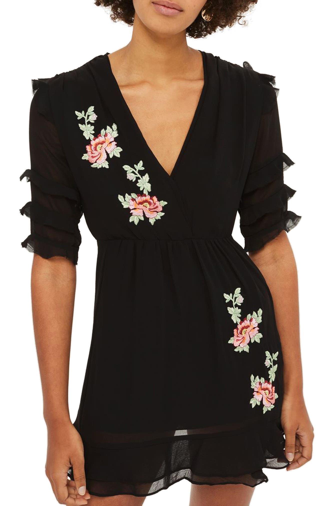 Embroidered Ruffle Detail Dress,                             Main thumbnail 1, color,                             Black Multi