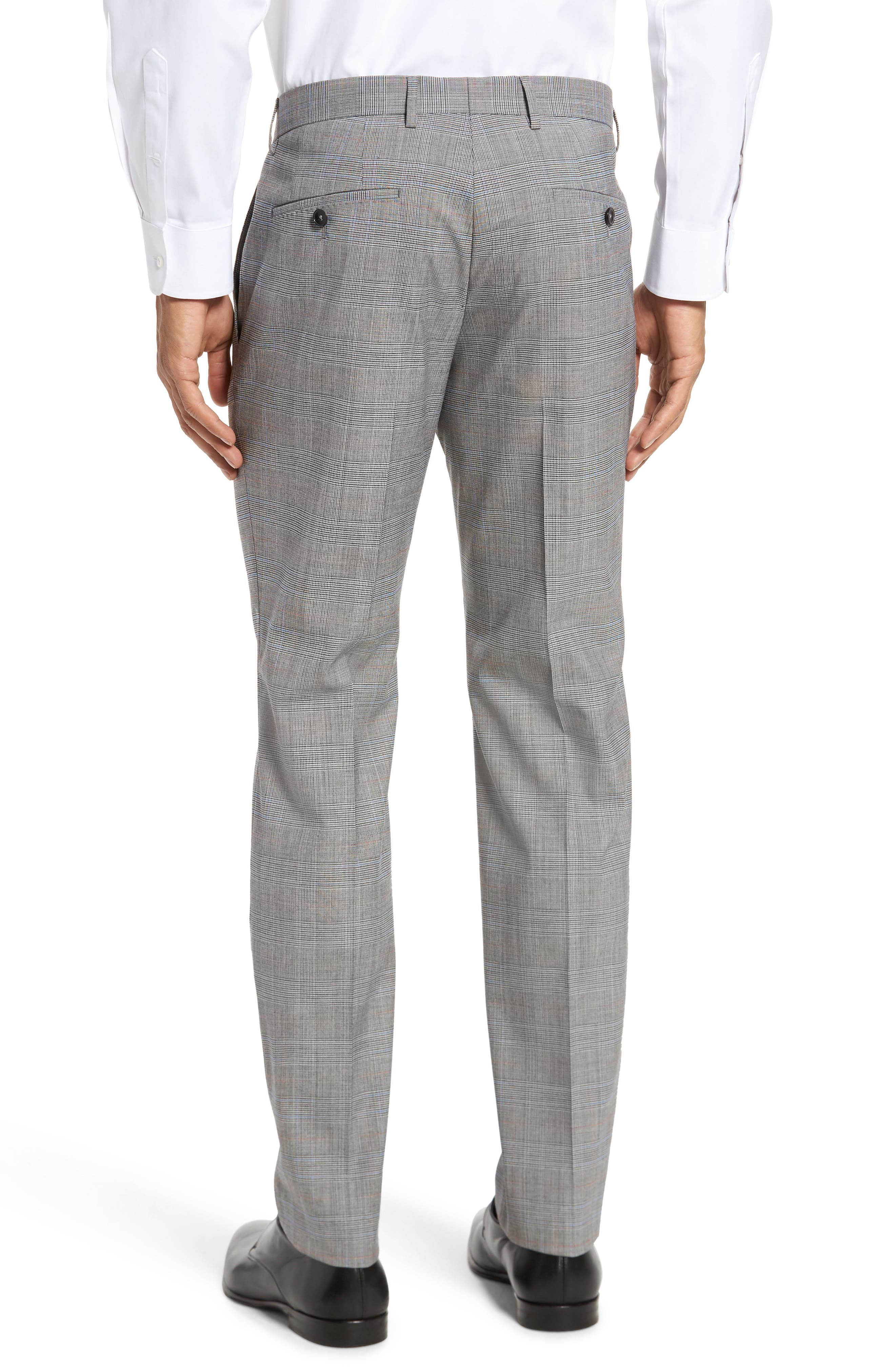 Benso Flat Front Plaid Wool Blend Trousers,                             Alternate thumbnail 2, color,                             Open Grey
