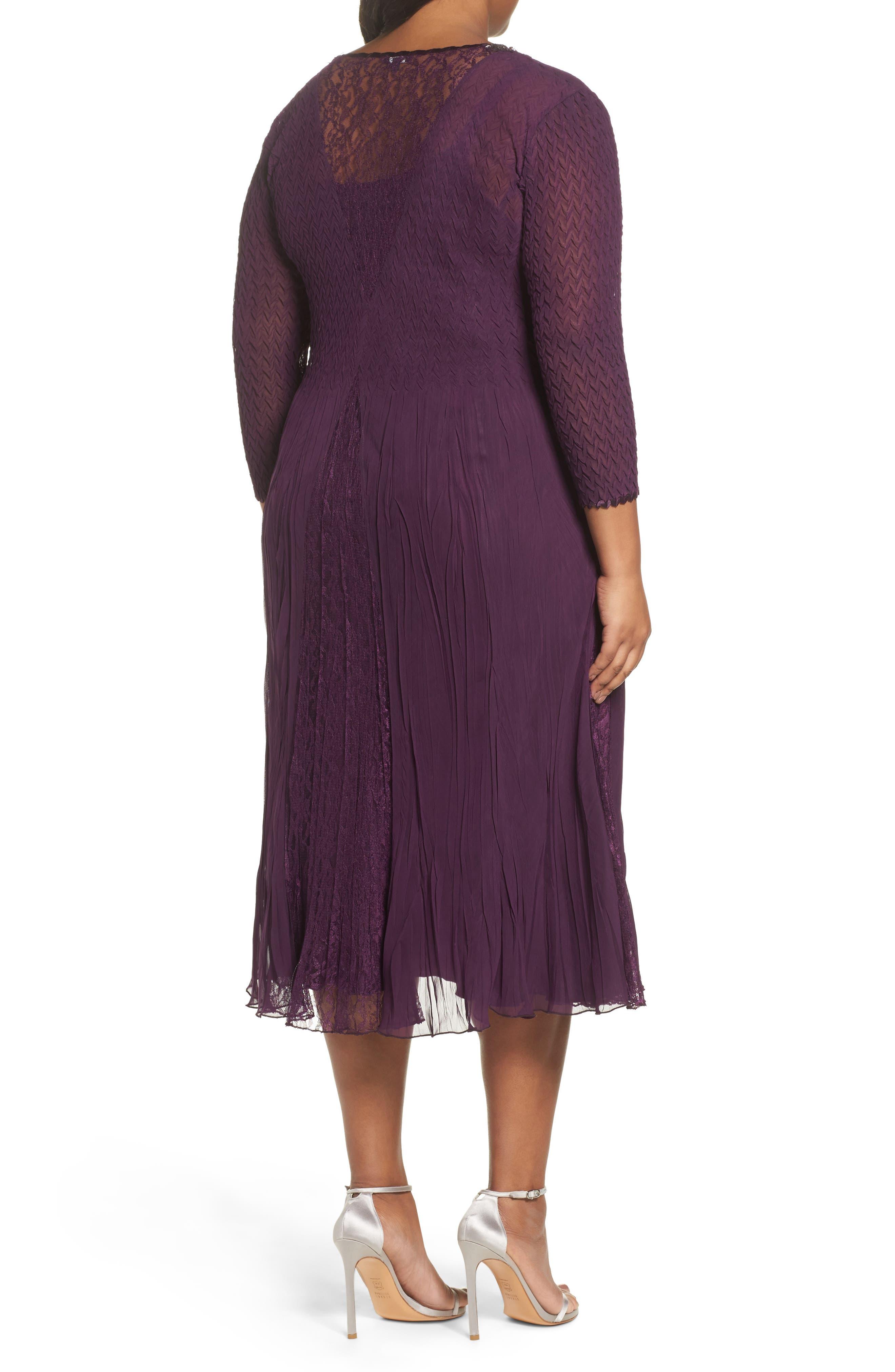 Center Front Lace Dress,                             Alternate thumbnail 2, color,                             Aubergine