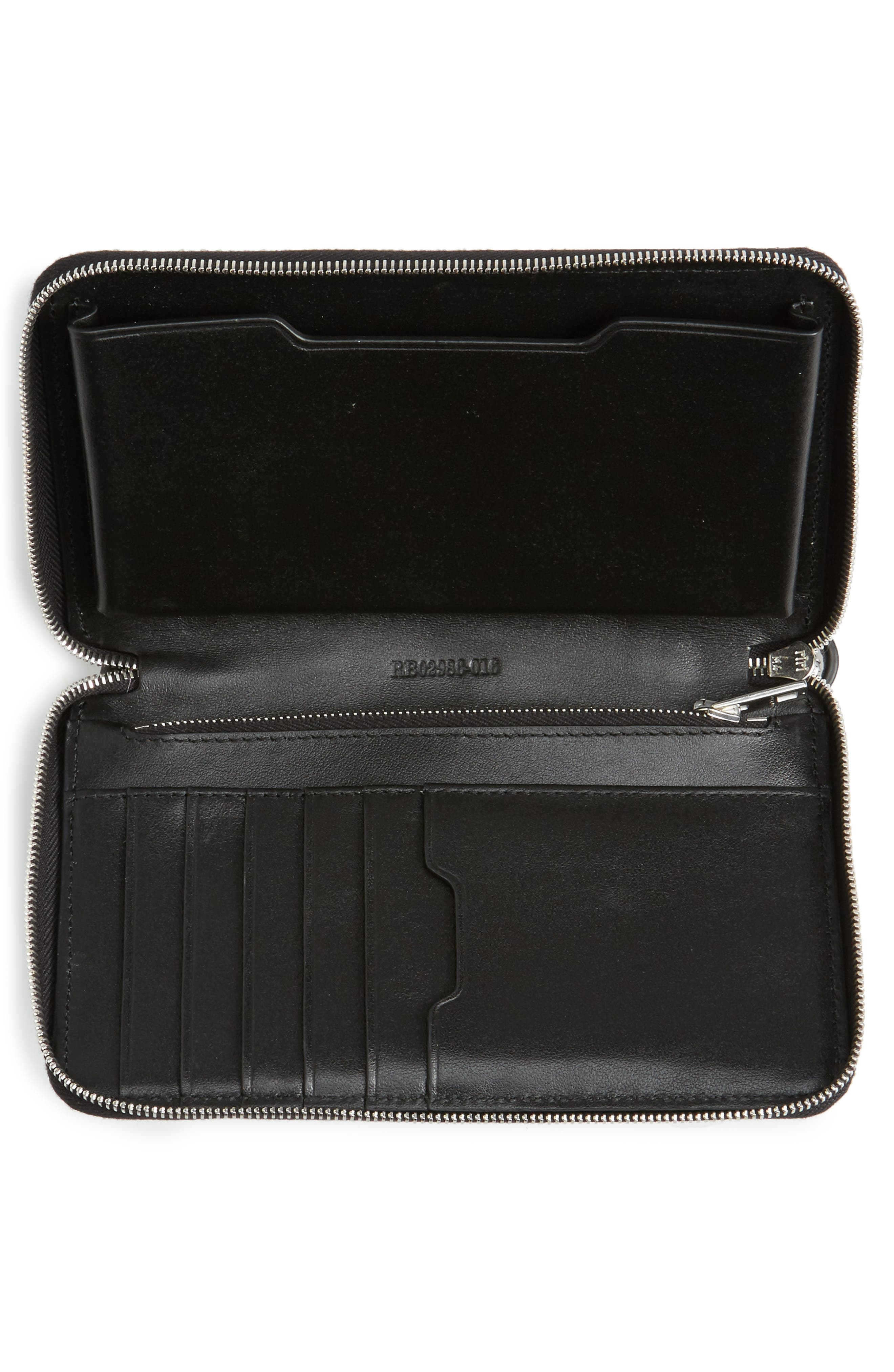 Studded Leather Smartphone Wallet,                             Alternate thumbnail 3, color,                             Black Studs