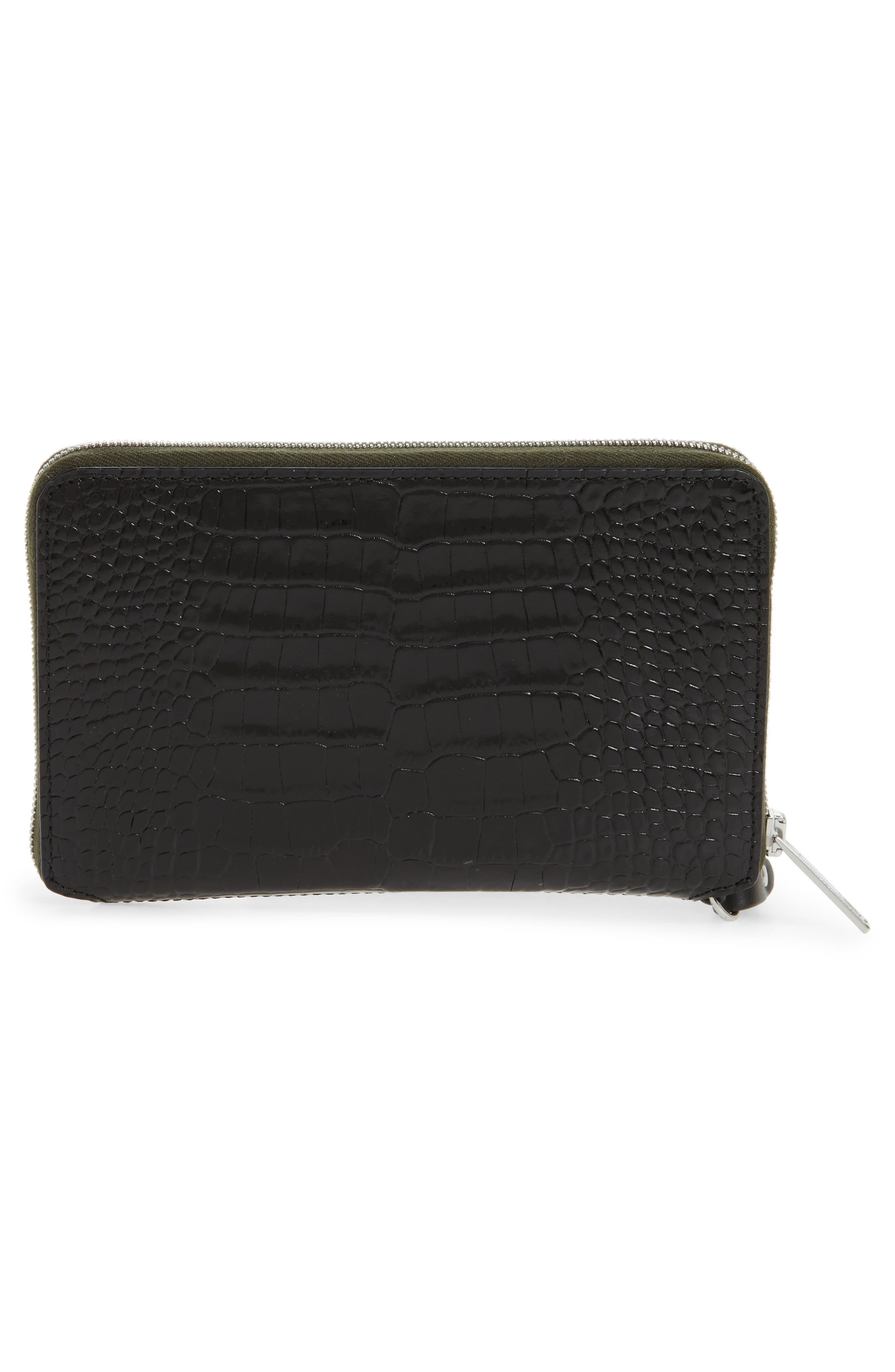 Croc Embossed Leather Smartphone Wallet,                             Alternate thumbnail 4, color,                             Black Croco