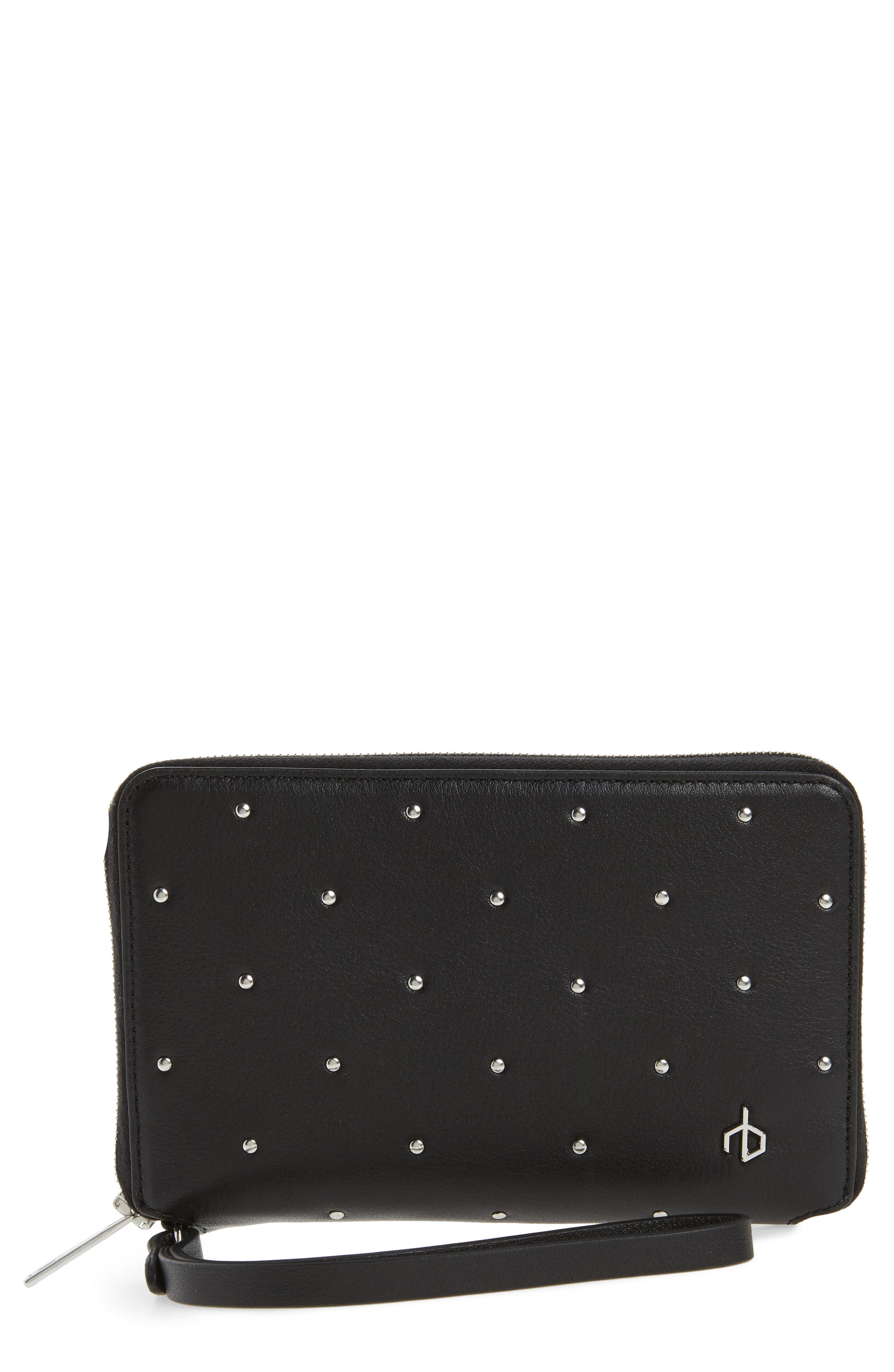 Studded Leather Smartphone Wallet,                             Main thumbnail 1, color,                             Black Studs