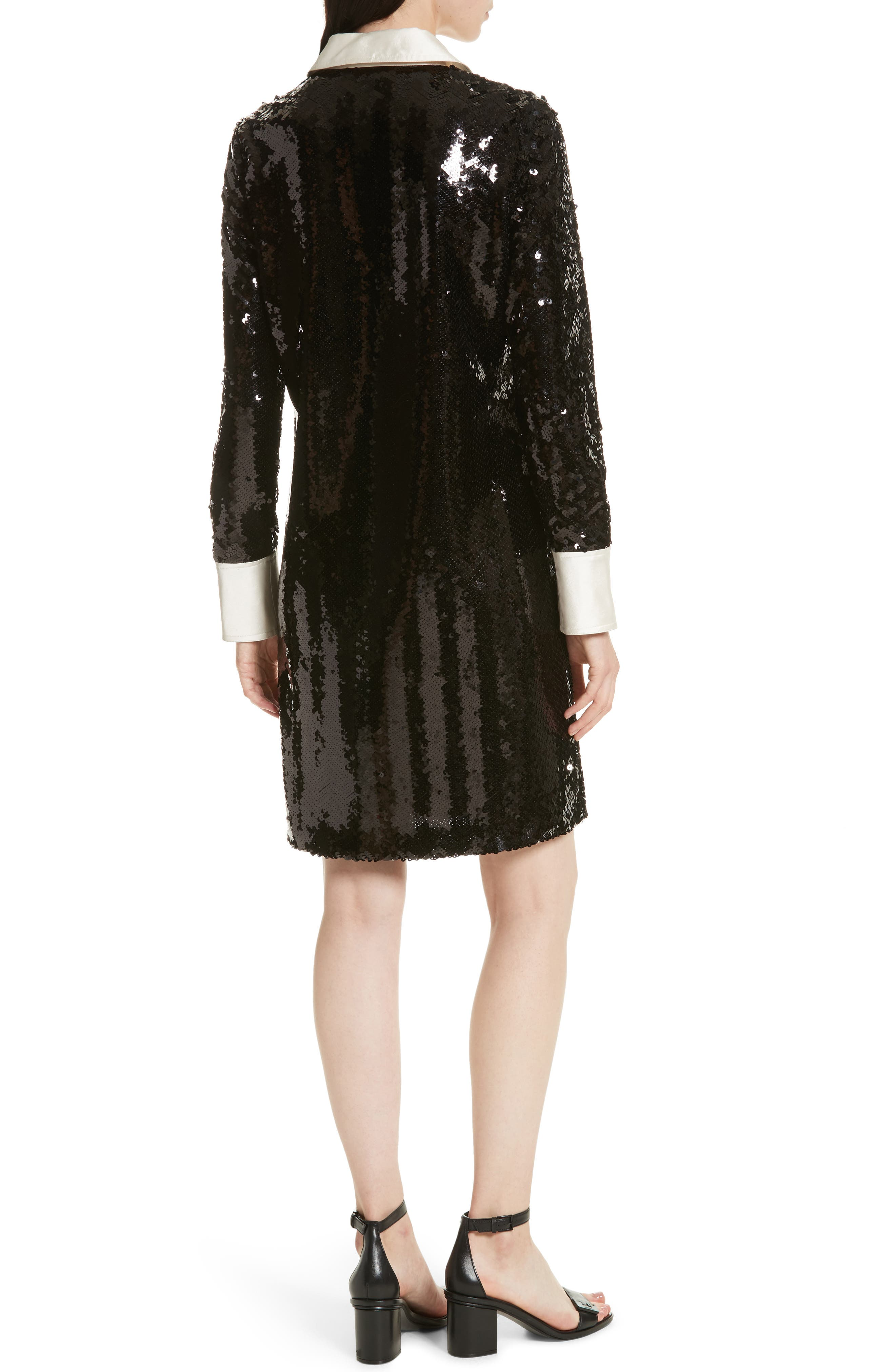 Monica Sequin Dress,                             Alternate thumbnail 2, color,                             Black