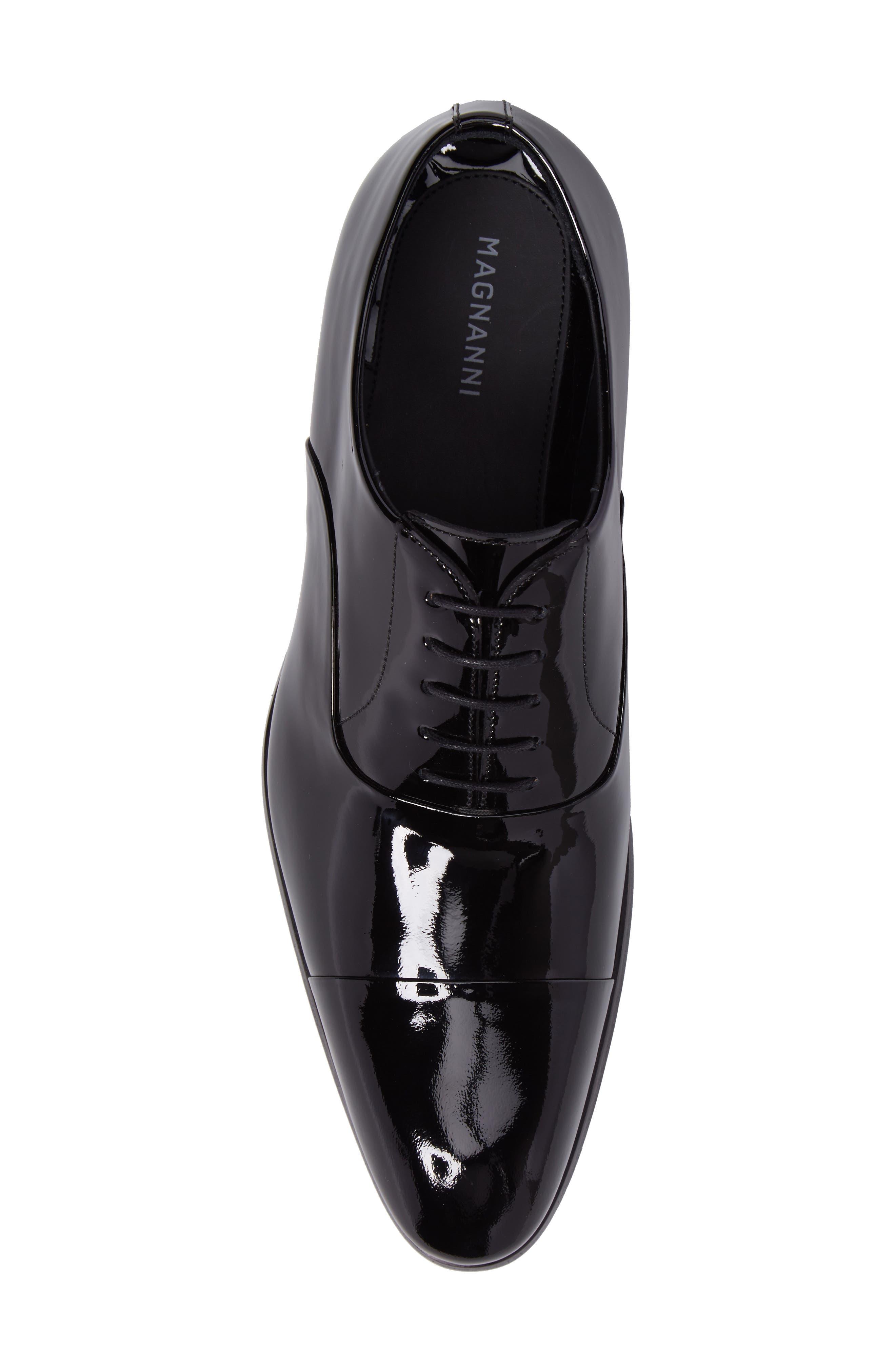 Davian Cap Toe Oxford,                             Alternate thumbnail 5, color,                             Black Patent