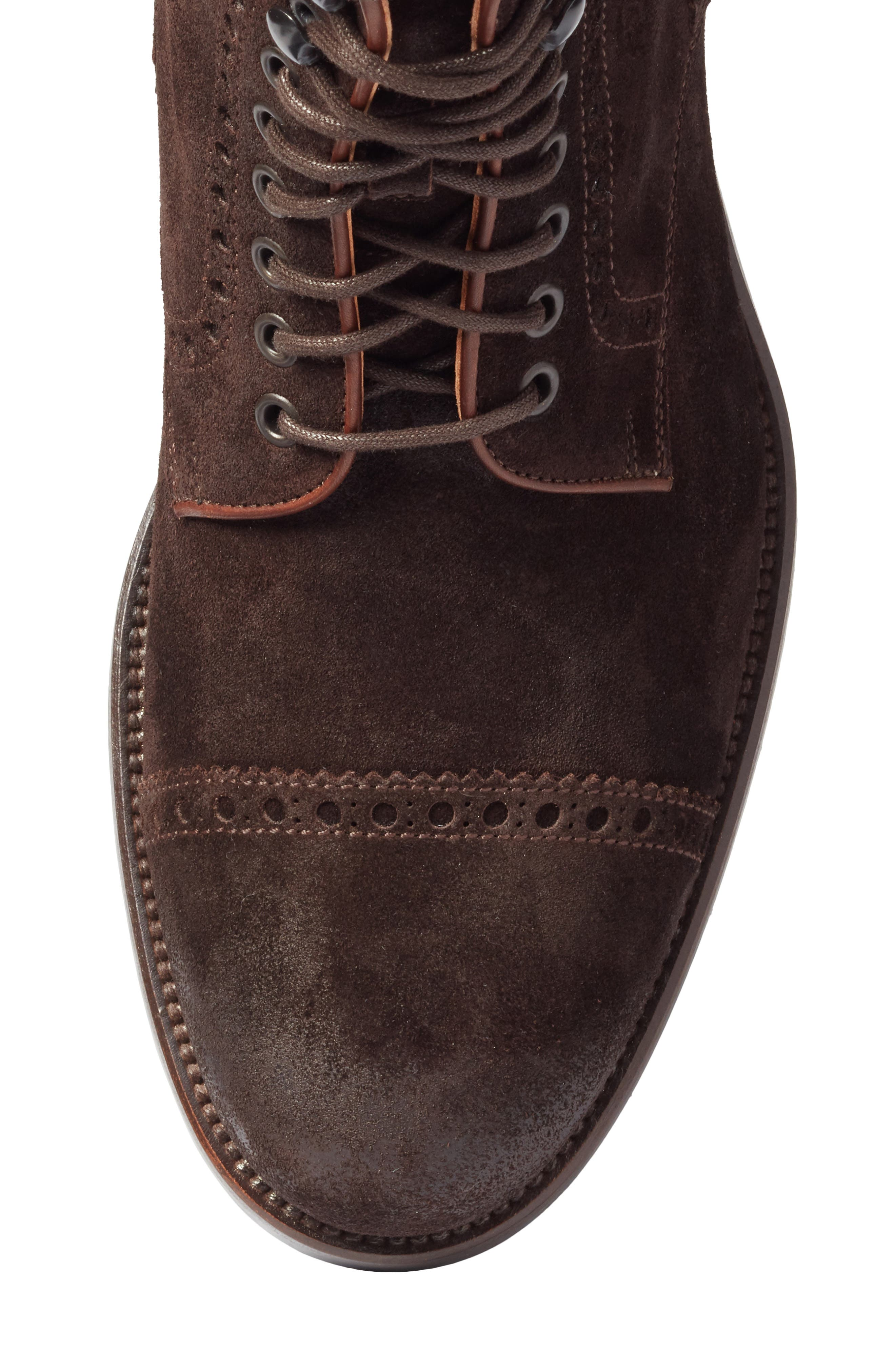 Palmer Cap Toe Boot,                             Alternate thumbnail 5, color,                             Brown Suede