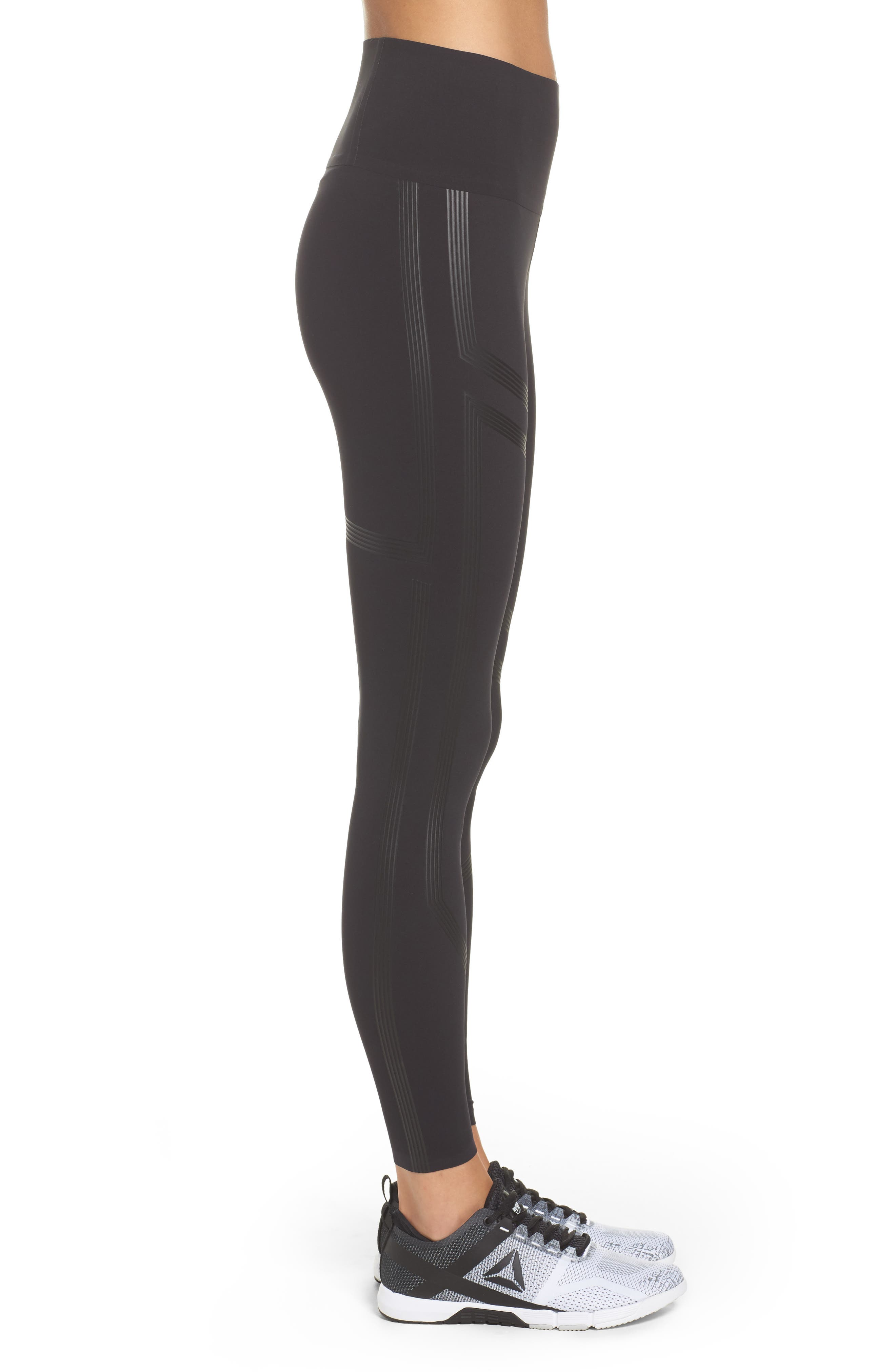 Linear High Rise Performance Tights,                             Alternate thumbnail 3, color,                             Black