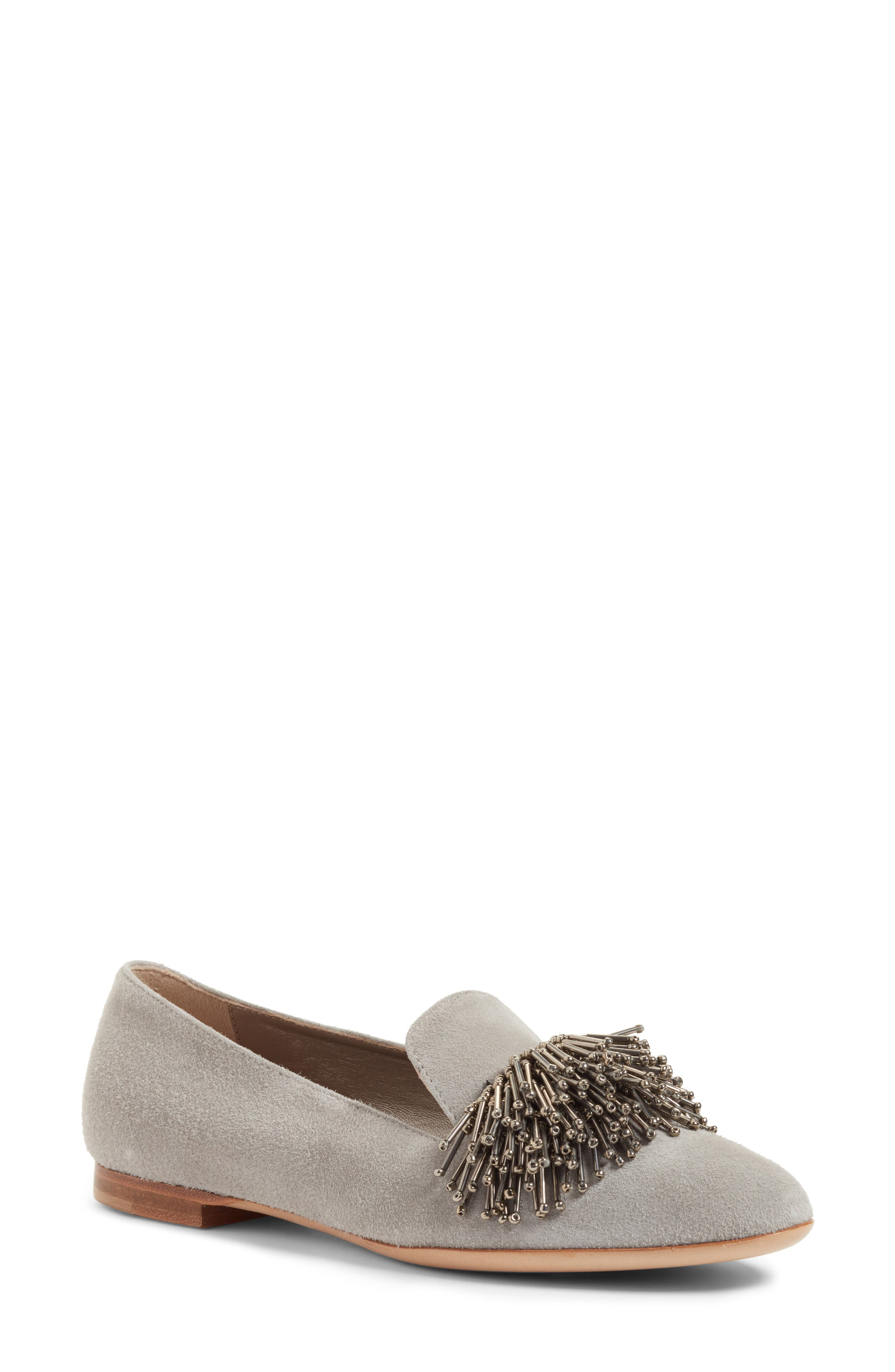 Beaded Loafer,                             Main thumbnail 1, color,                             Cube Grey Suede