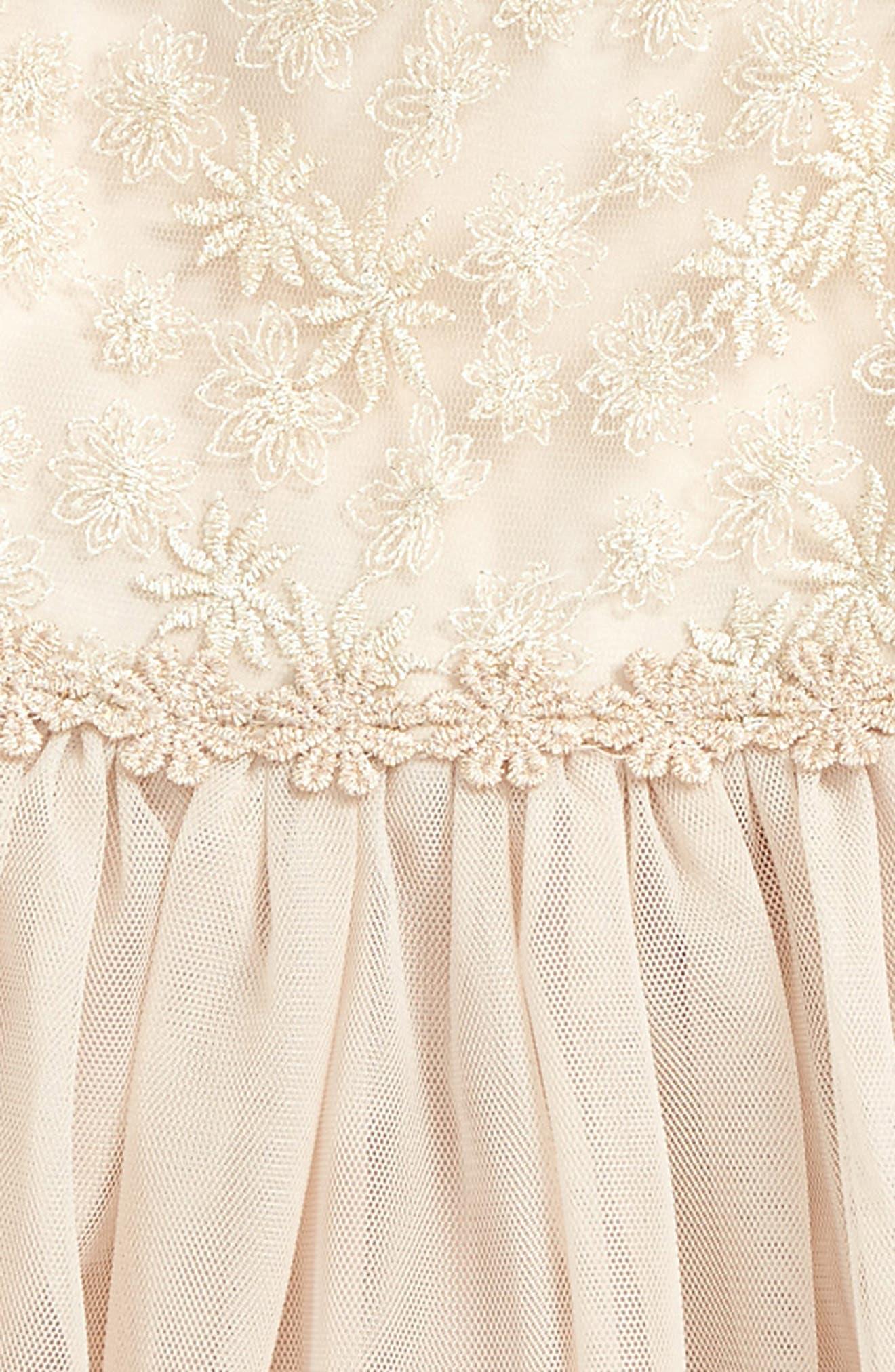 Lace & Tulle Dress,                             Alternate thumbnail 2, color,                             Gold