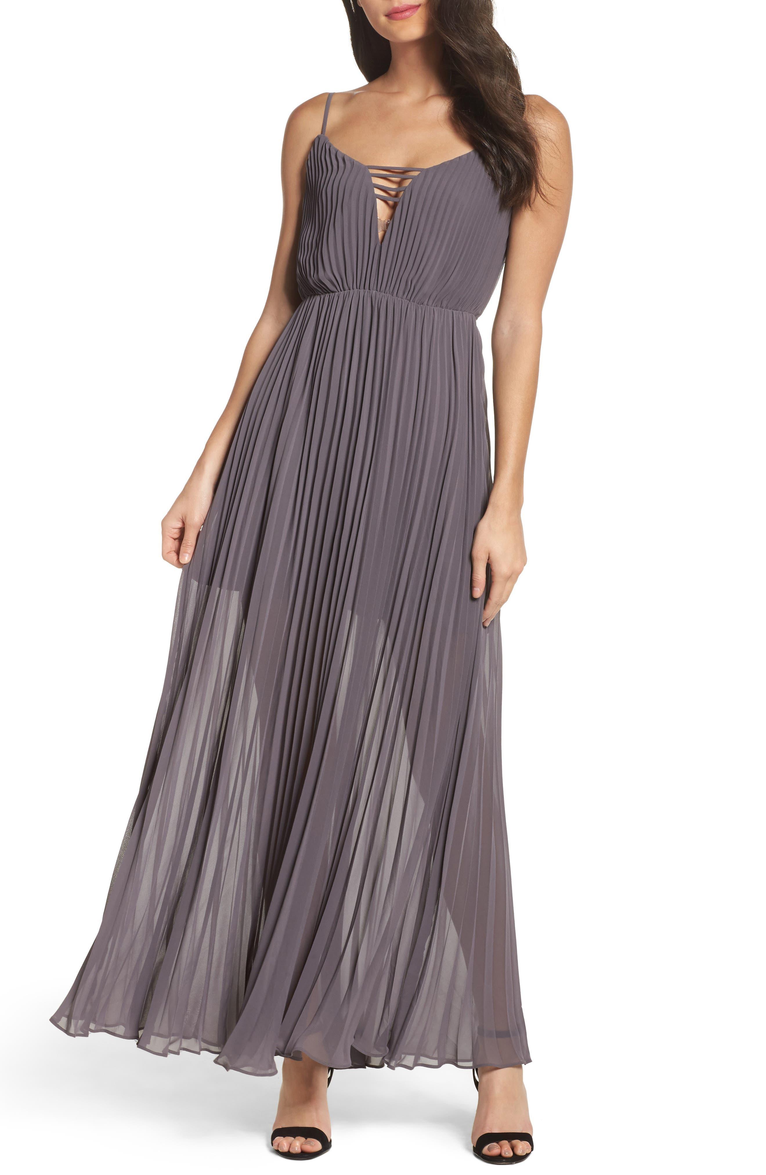 She Is A Regular Pleated Maxi Dress,                             Main thumbnail 1, color,                             Slate