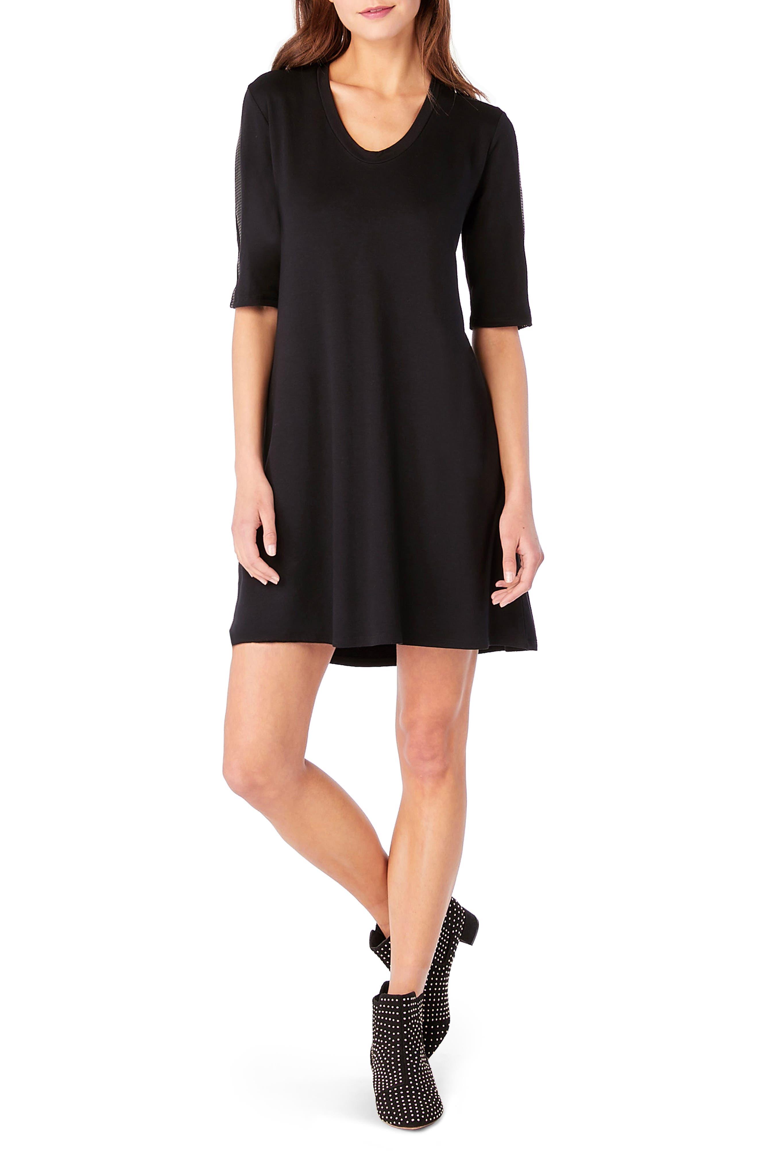 Elbow Sleeve Leather Trim Shift Dress,                             Main thumbnail 1, color,                             Black