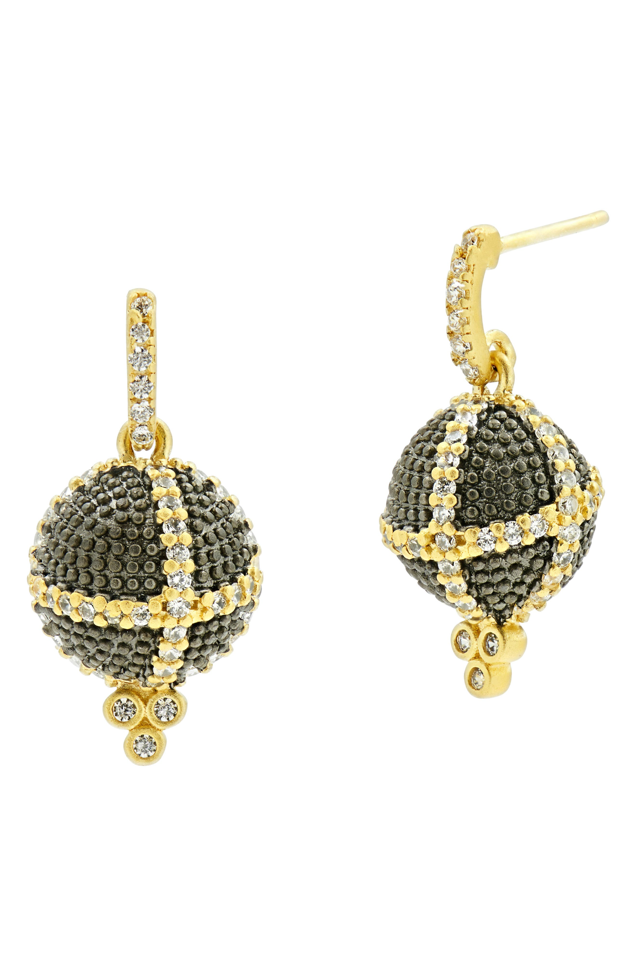 Textured Ornaments Drop Earrings,                             Main thumbnail 1, color,                             Black/ Gold