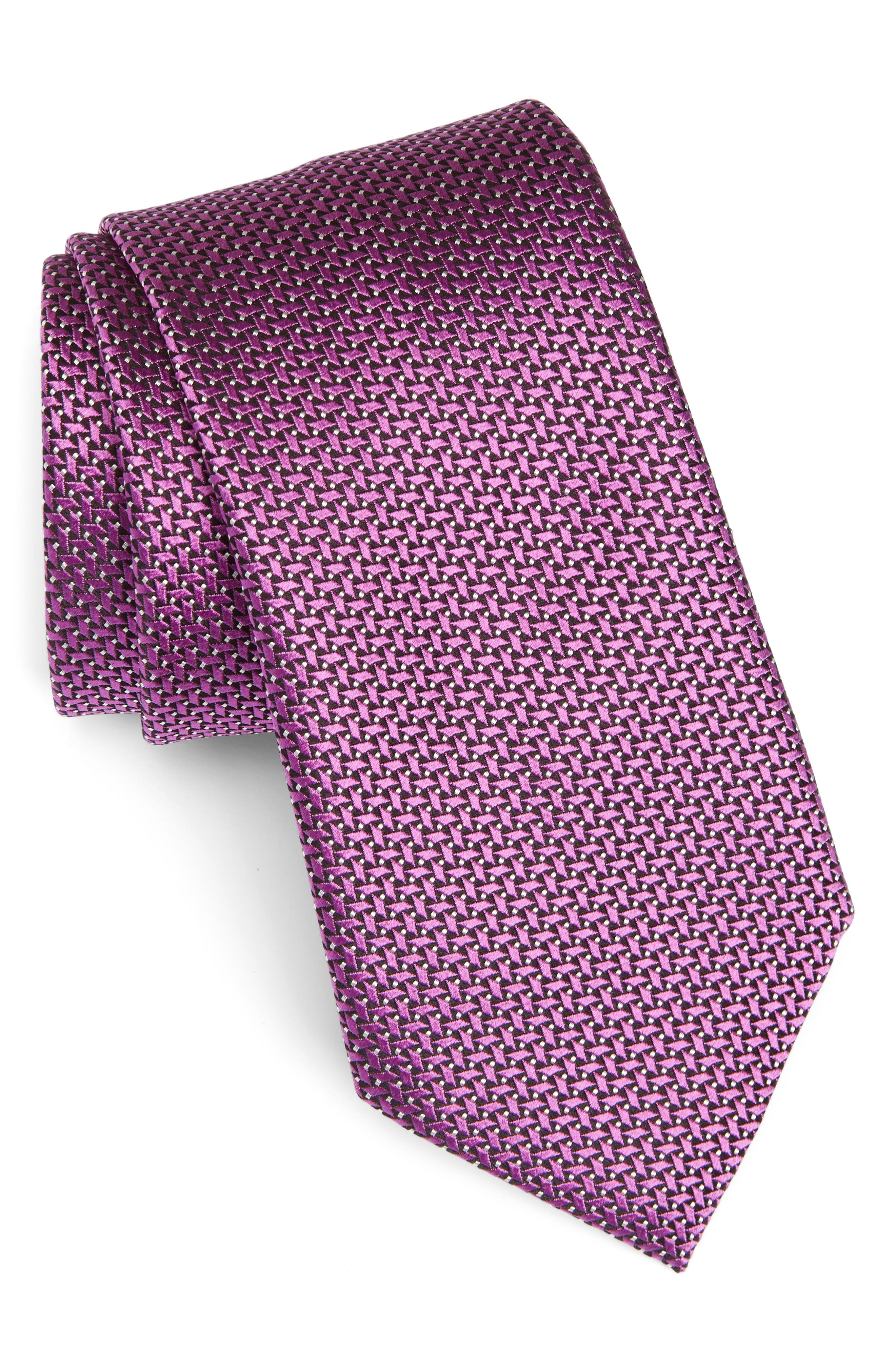 Geometric Silk Tie,                             Main thumbnail 1, color,                             Magenta