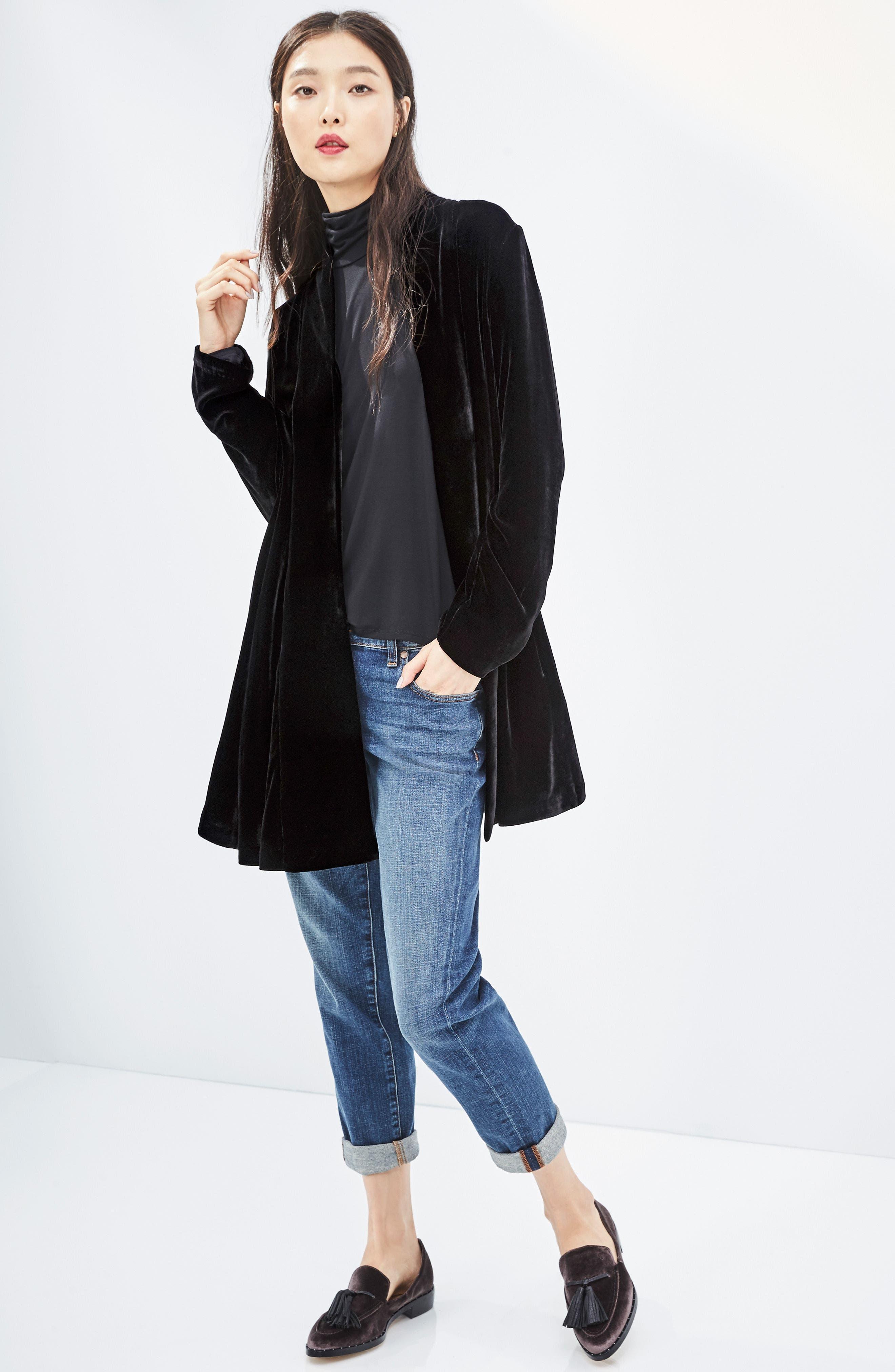 Shawl Collar Velvet Jacket,                             Alternate thumbnail 8, color,