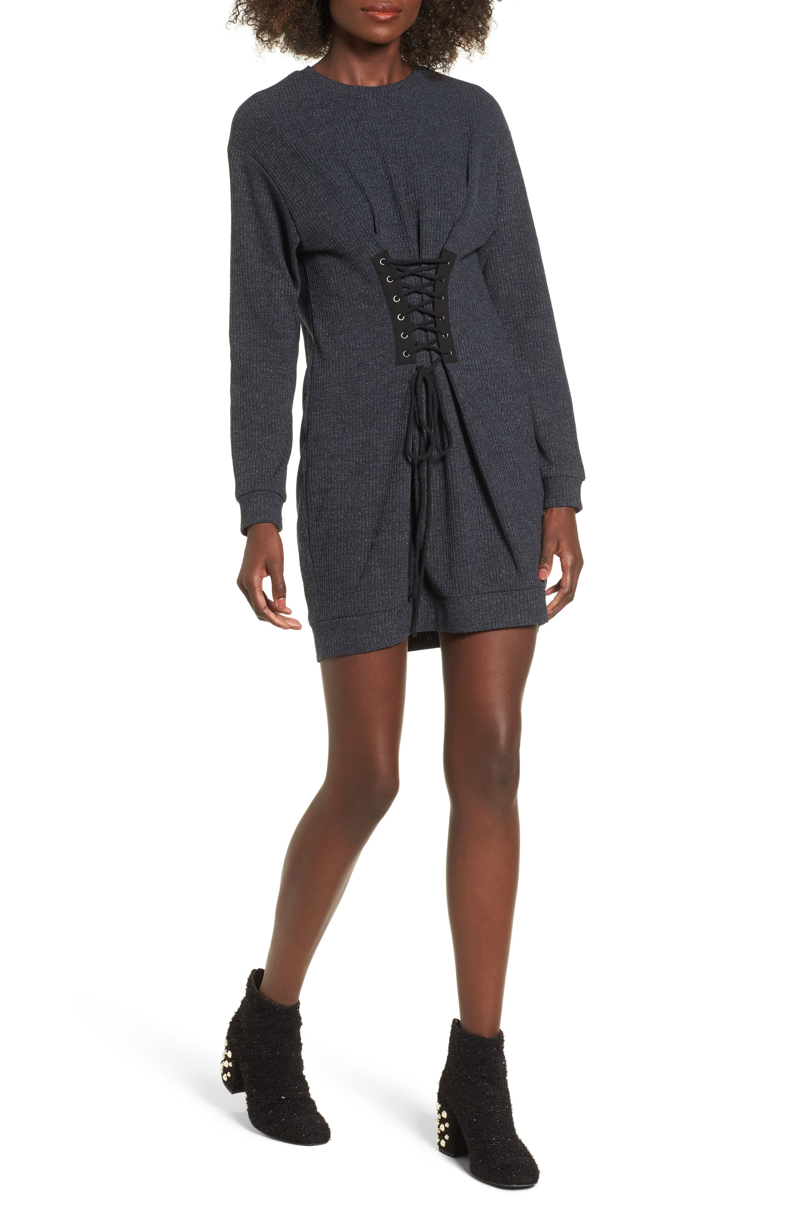 Alternate Image 1 Selected - WAYF Corset Detail Sweatshirt Dress