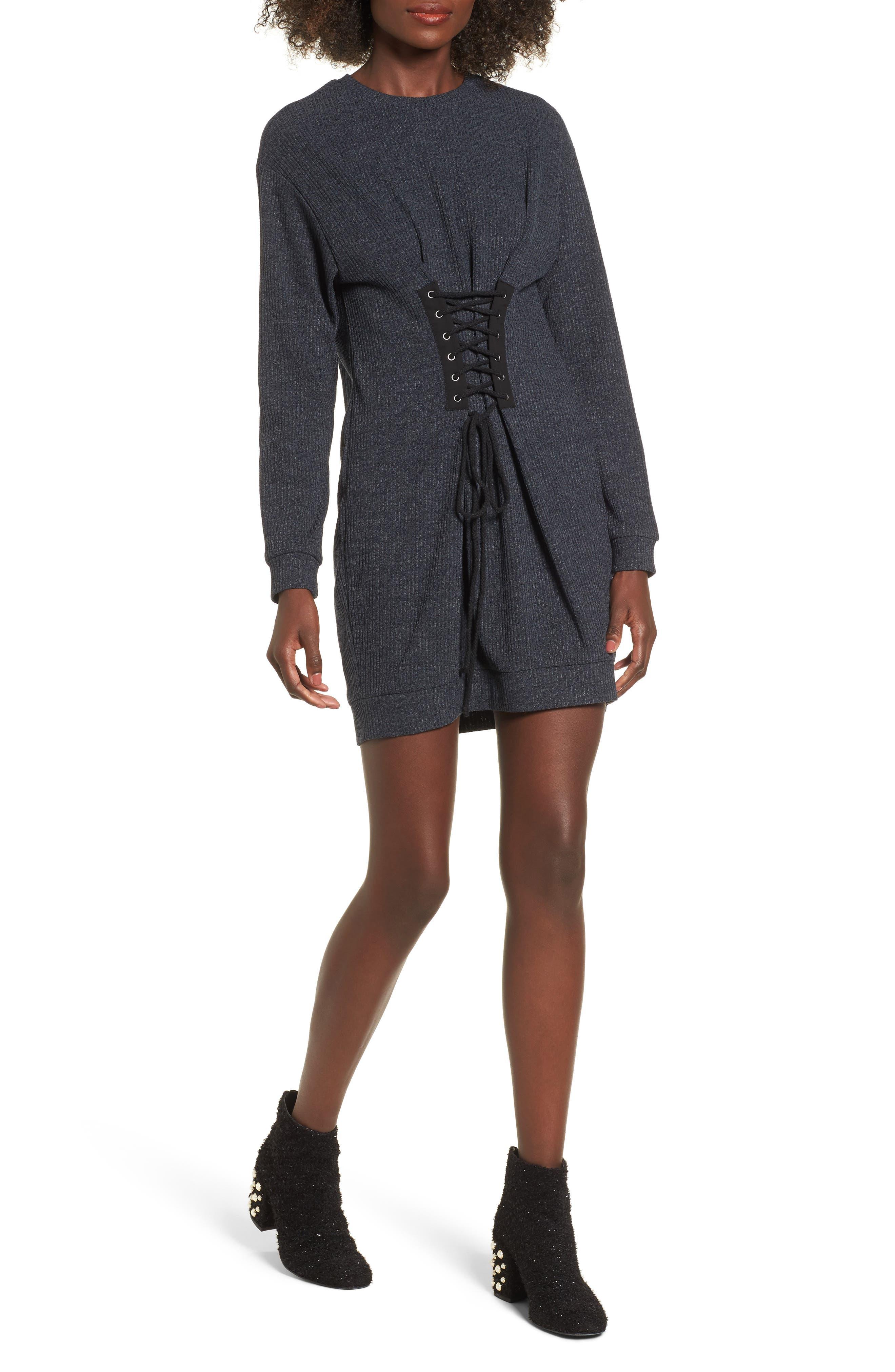 Main Image - WAYF Corset Detail Sweatshirt Dress