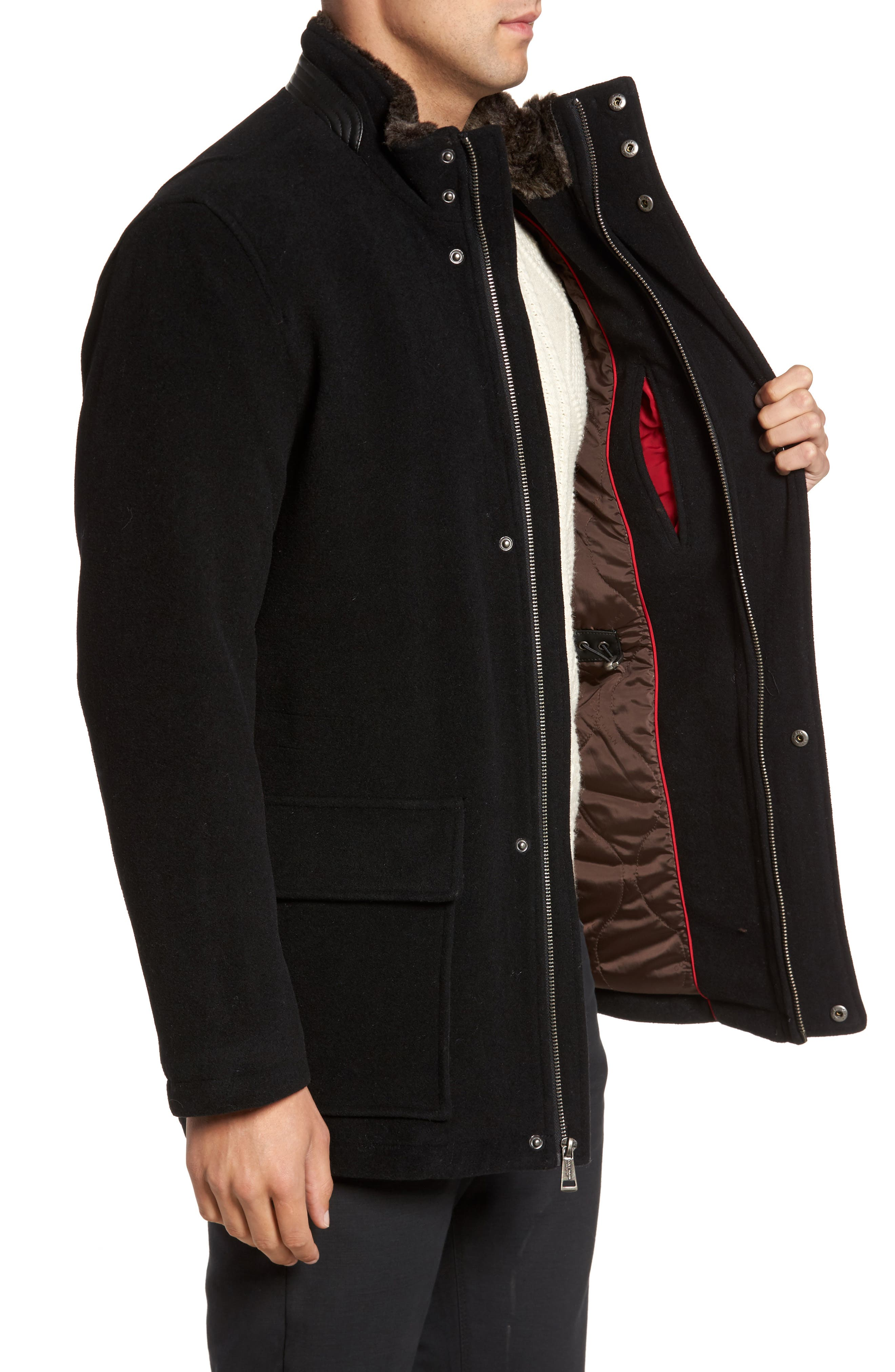 Faux Fur Collar Wool Blend Parka,                             Alternate thumbnail 3, color,                             Black
