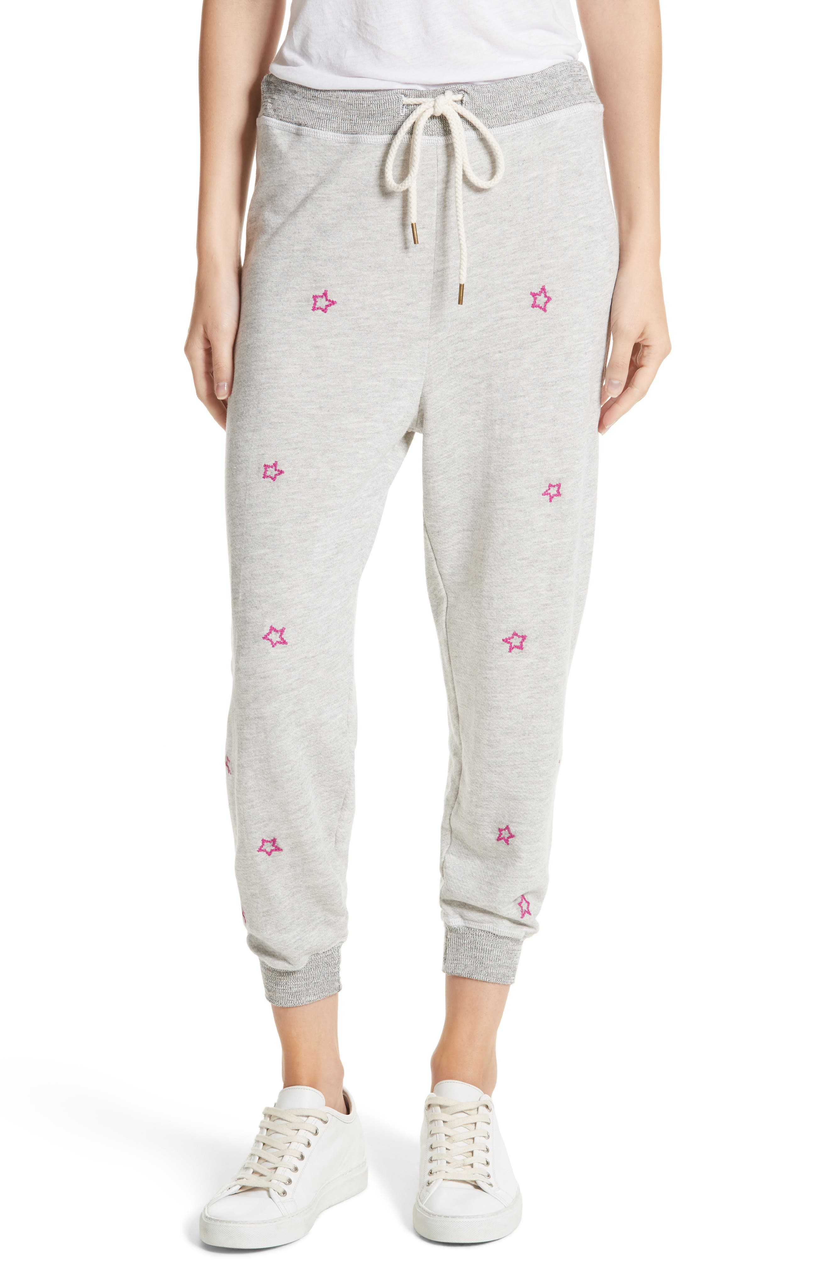 The Cropped Sweatpants,                         Main,                         color, Heather Grey/ Thistle Stars